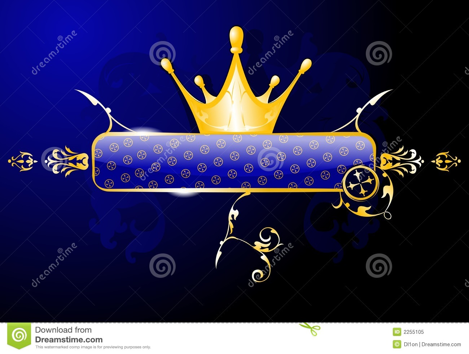 Goldkronen-Glühen-Blau-Fahne