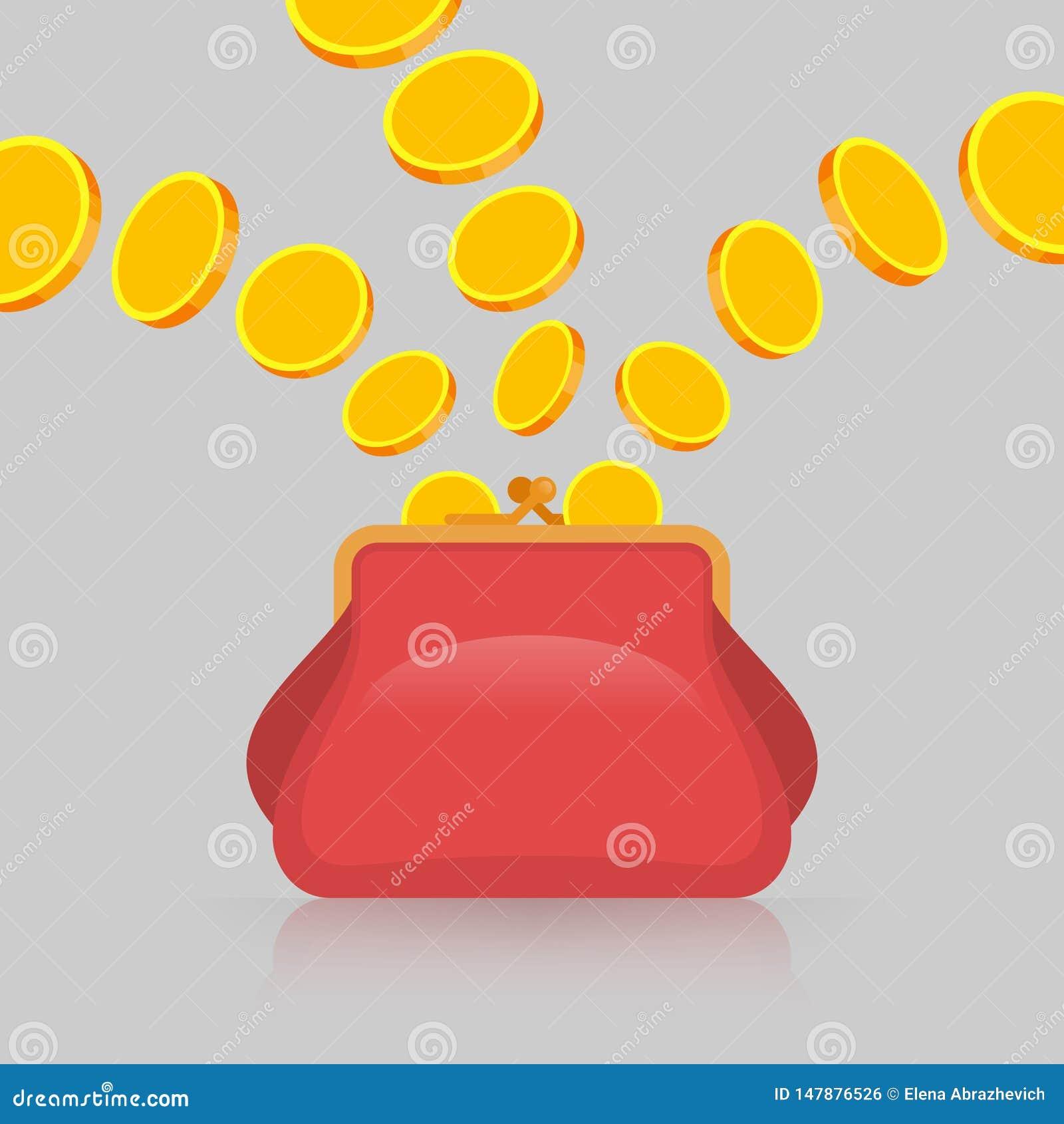Goldm?nzen fallen in Geldbeutel