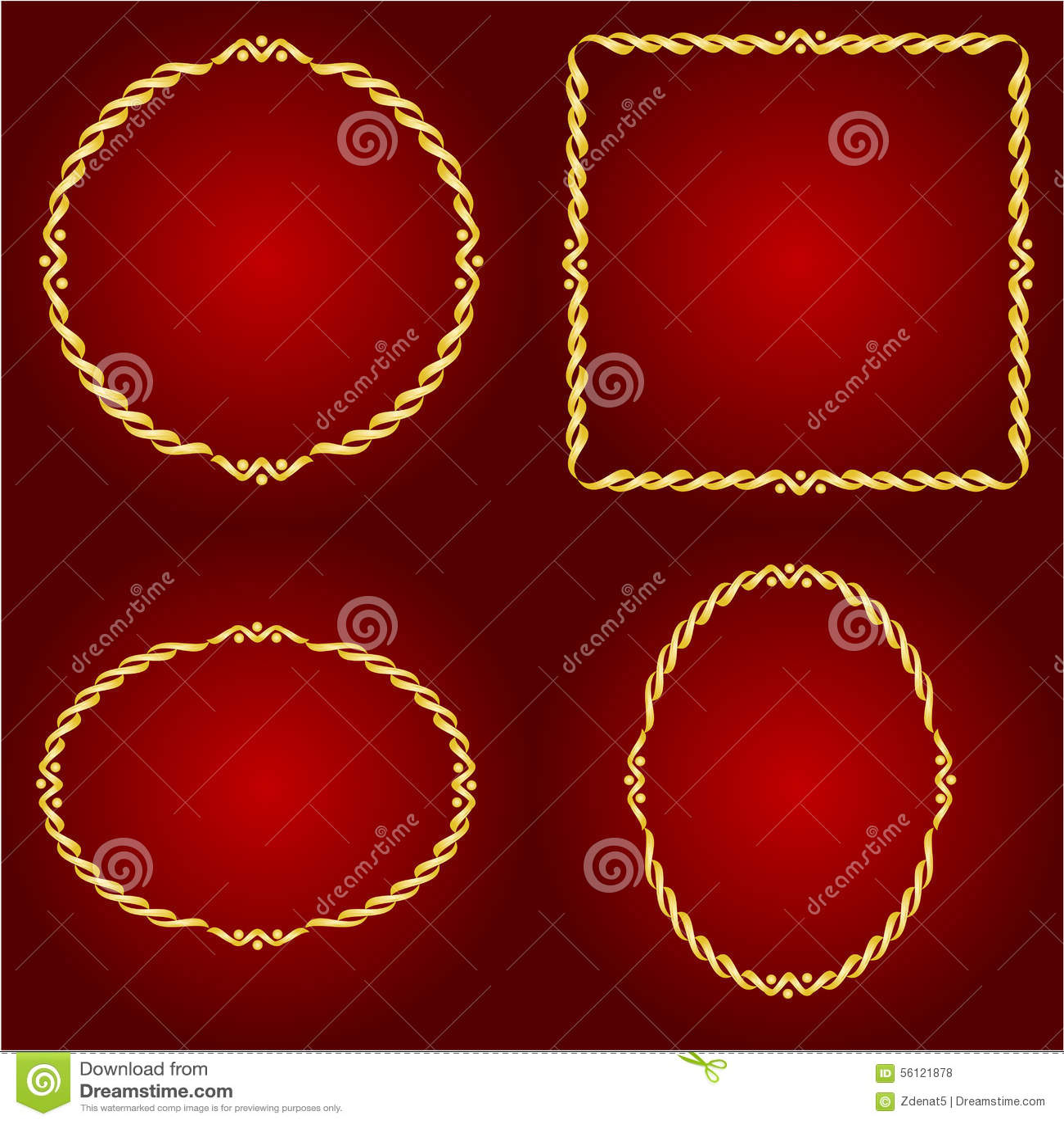 Goldrahmen Auf Dem Roten Hintergrundvektor Vektor Abbildung ...