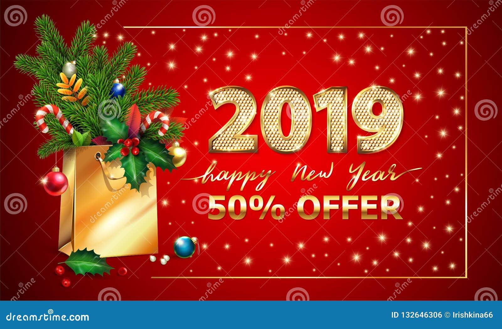 Goldvektor-Text guten Rutsch ins Neue Jahr, 3d goldene Stellen 2019, Werbungsweihnachtsangebot Einkaufstaschetannenzweige Weihnac