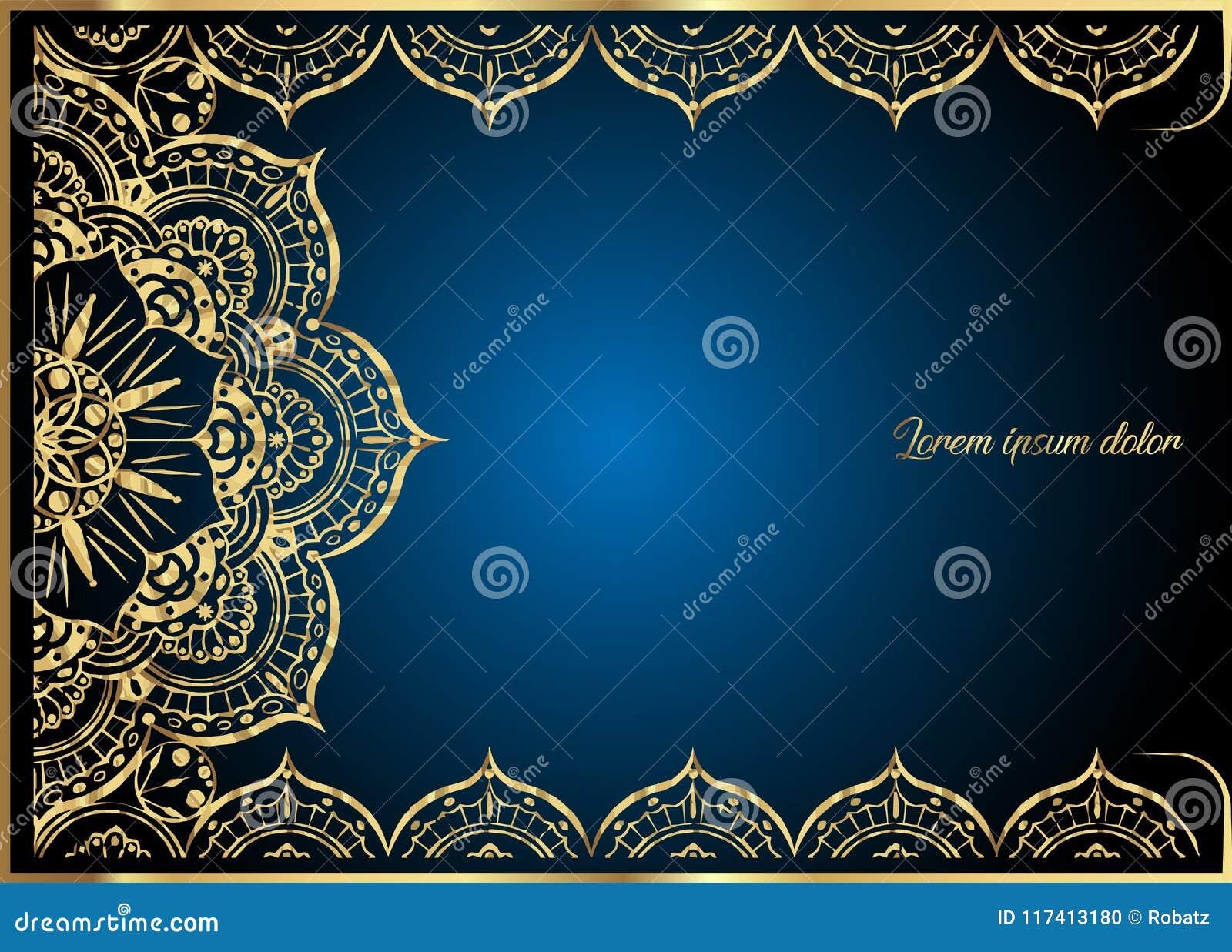 Goldweinlese-Grußkarte auf blauem Hintergrund Luxusverzierungsschablone Groß für Einladung, Flieger, Menü, Broschüre