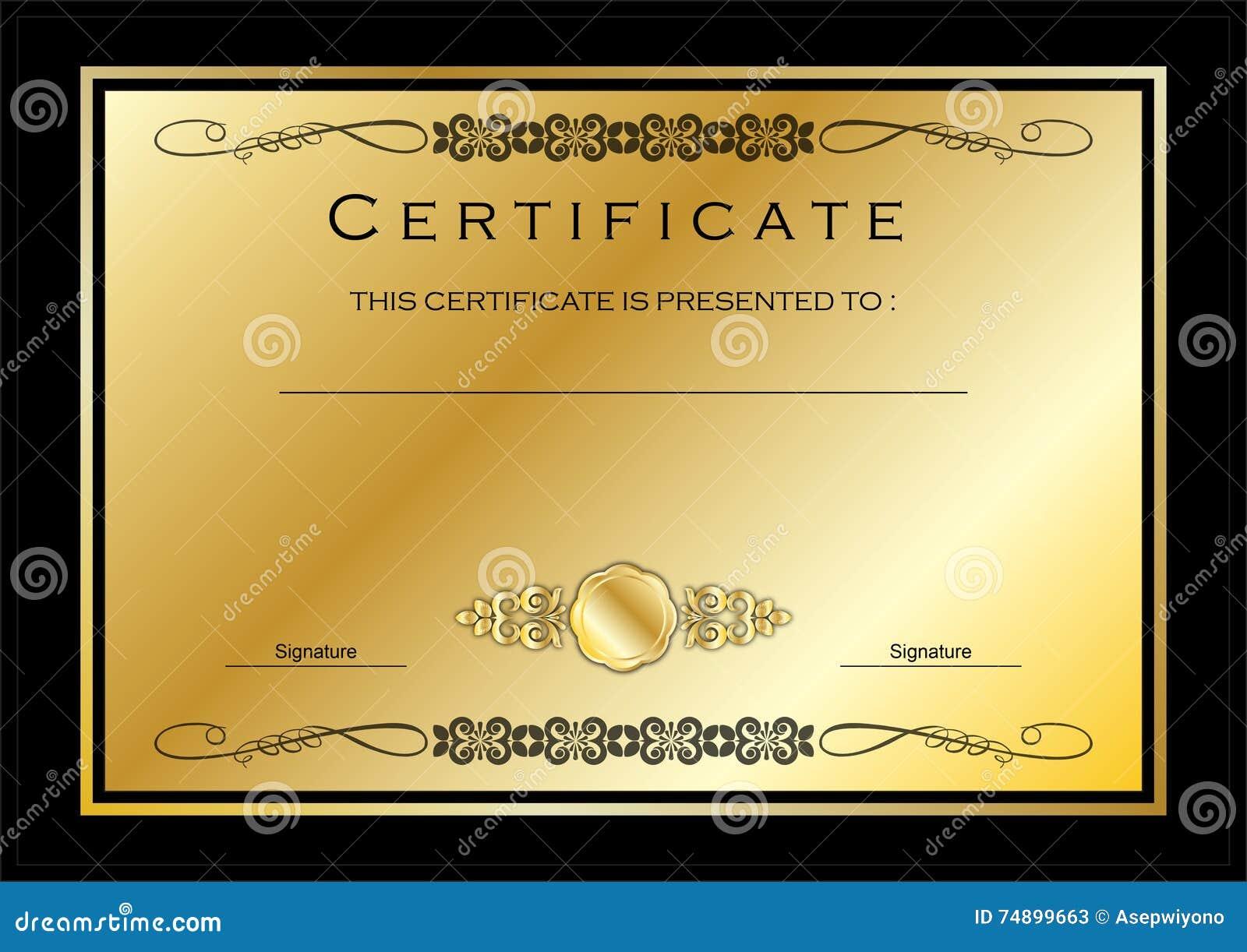 Elegant Marriage Certificate Template Golden Edition: Goldzertifikat/Diplom-Preis-Schablone Stock Abbildung