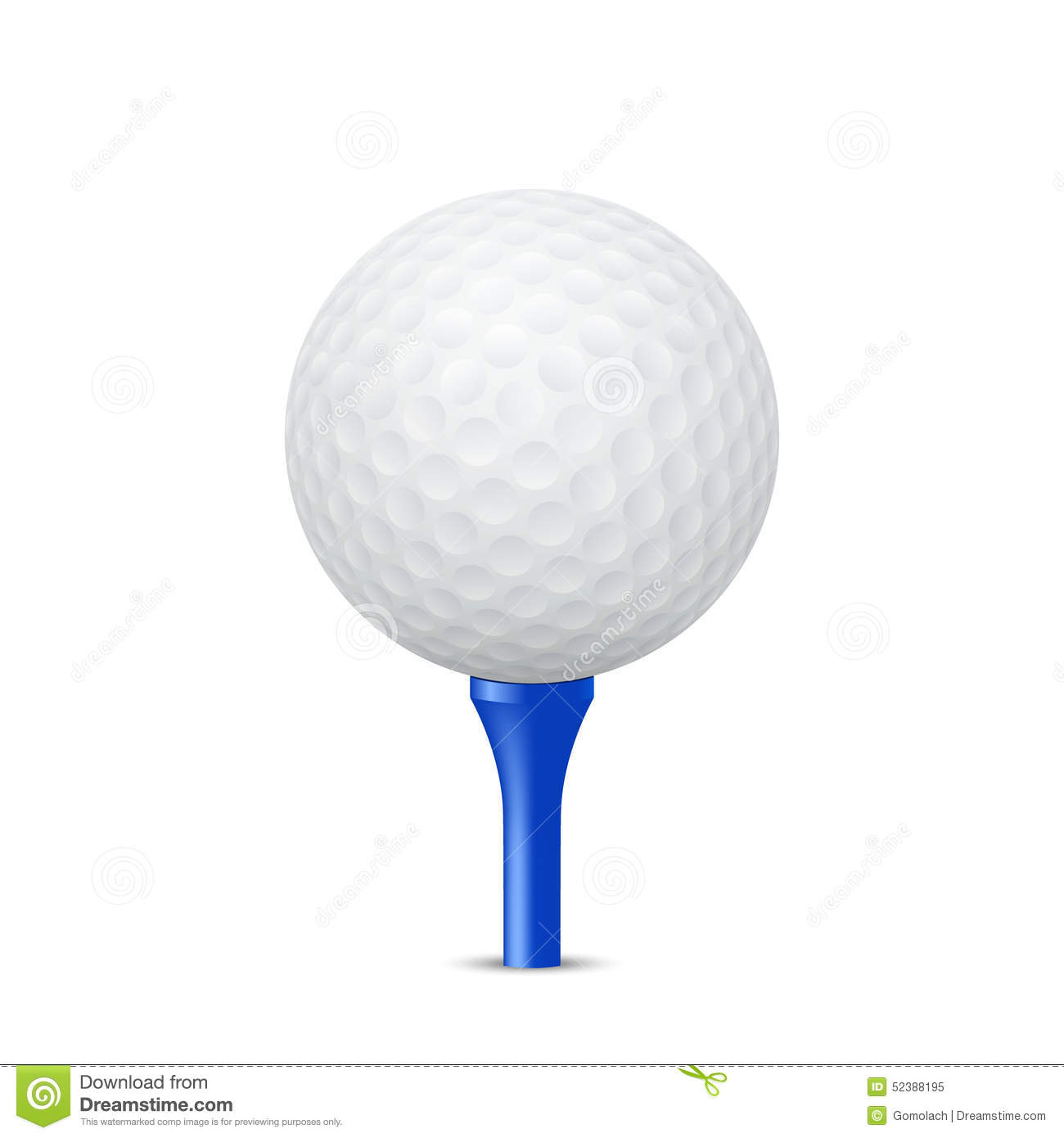 627cc295 Golf Ball On A Blue Tee. Vector Illustration. Stock Vector ...