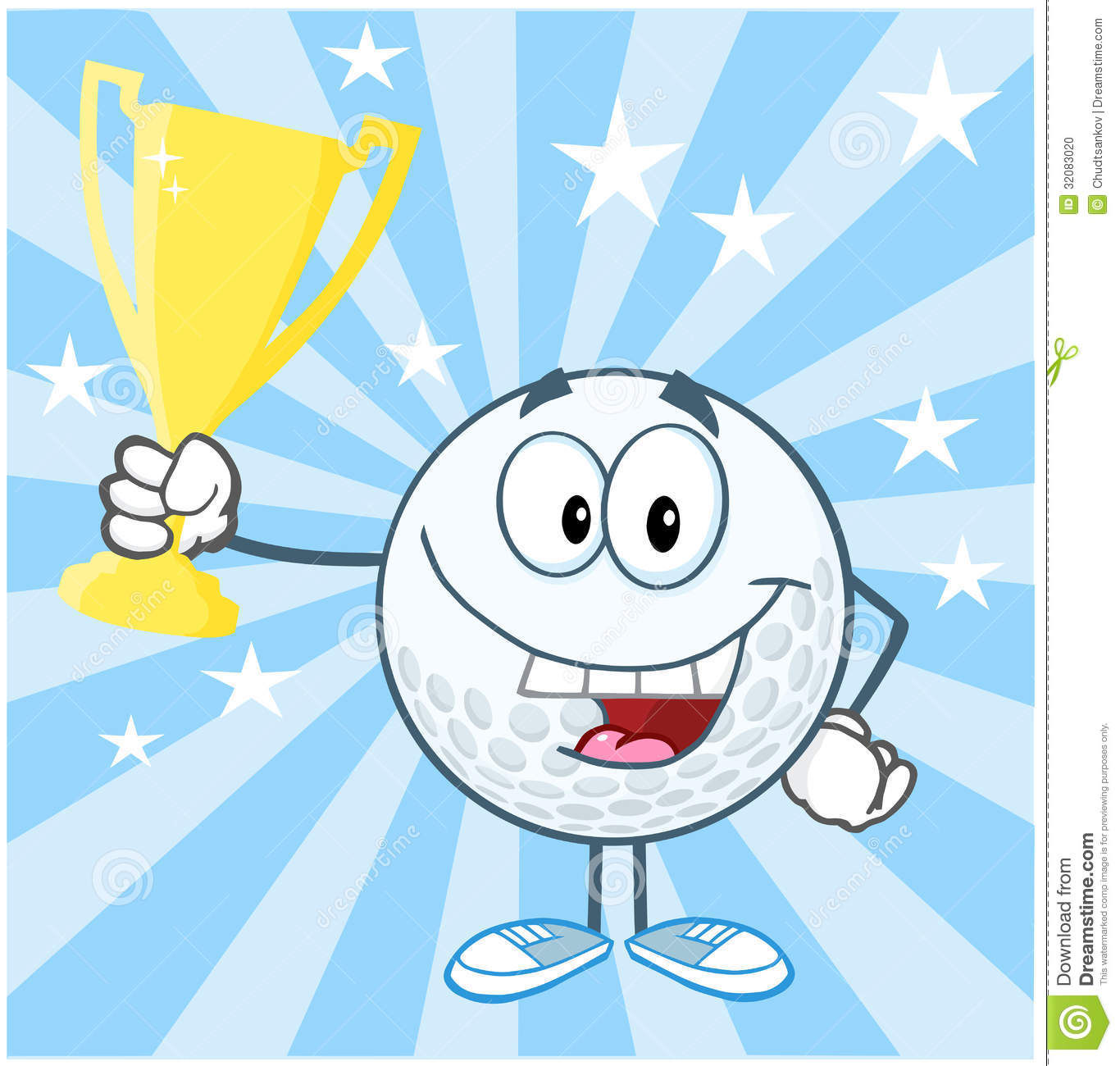 Golf Ball Cartoon Character Holding Prize Trophy C Stock Photo - Image ...
