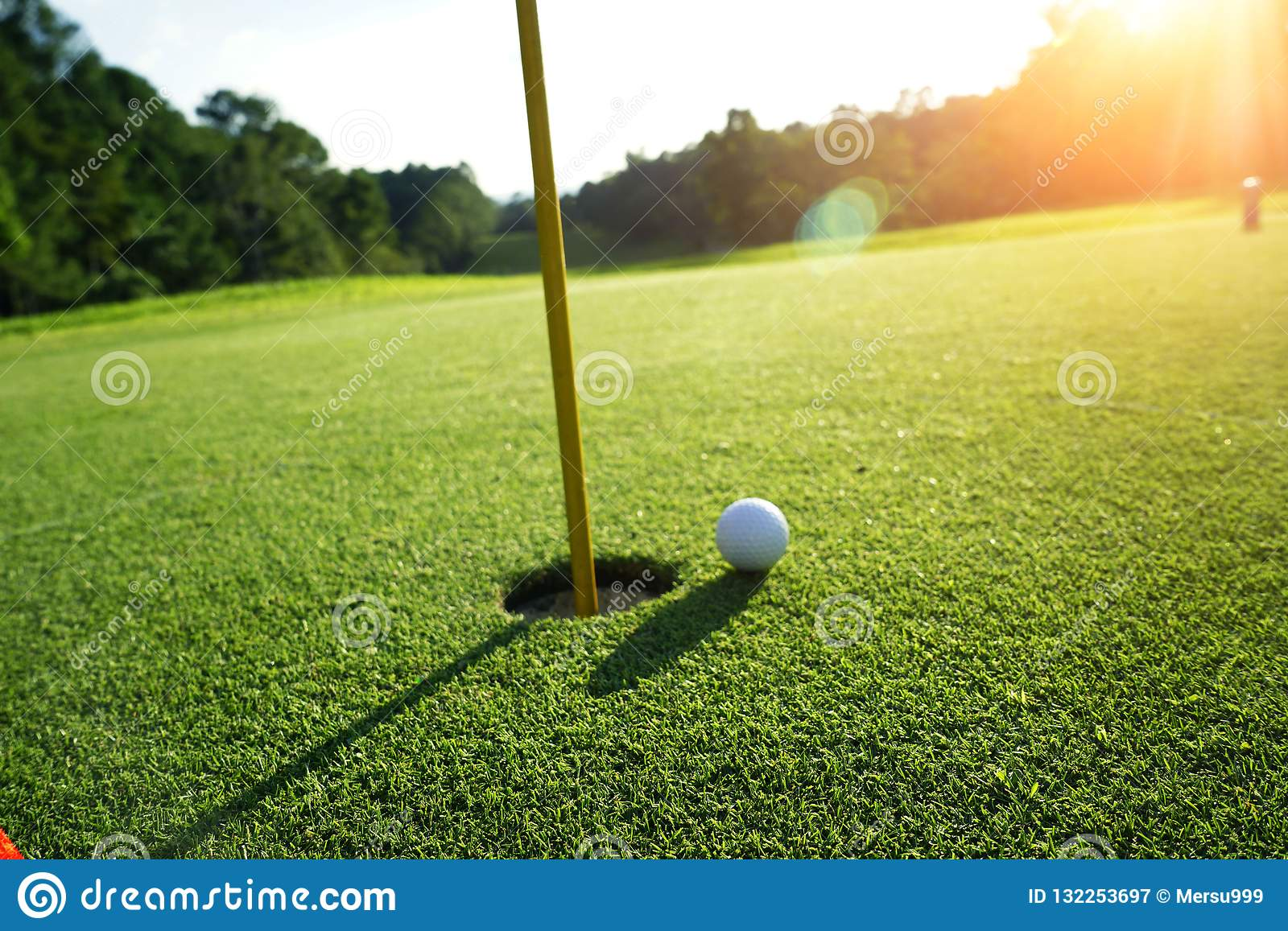 Golf ball on the edge of hole on the green grass