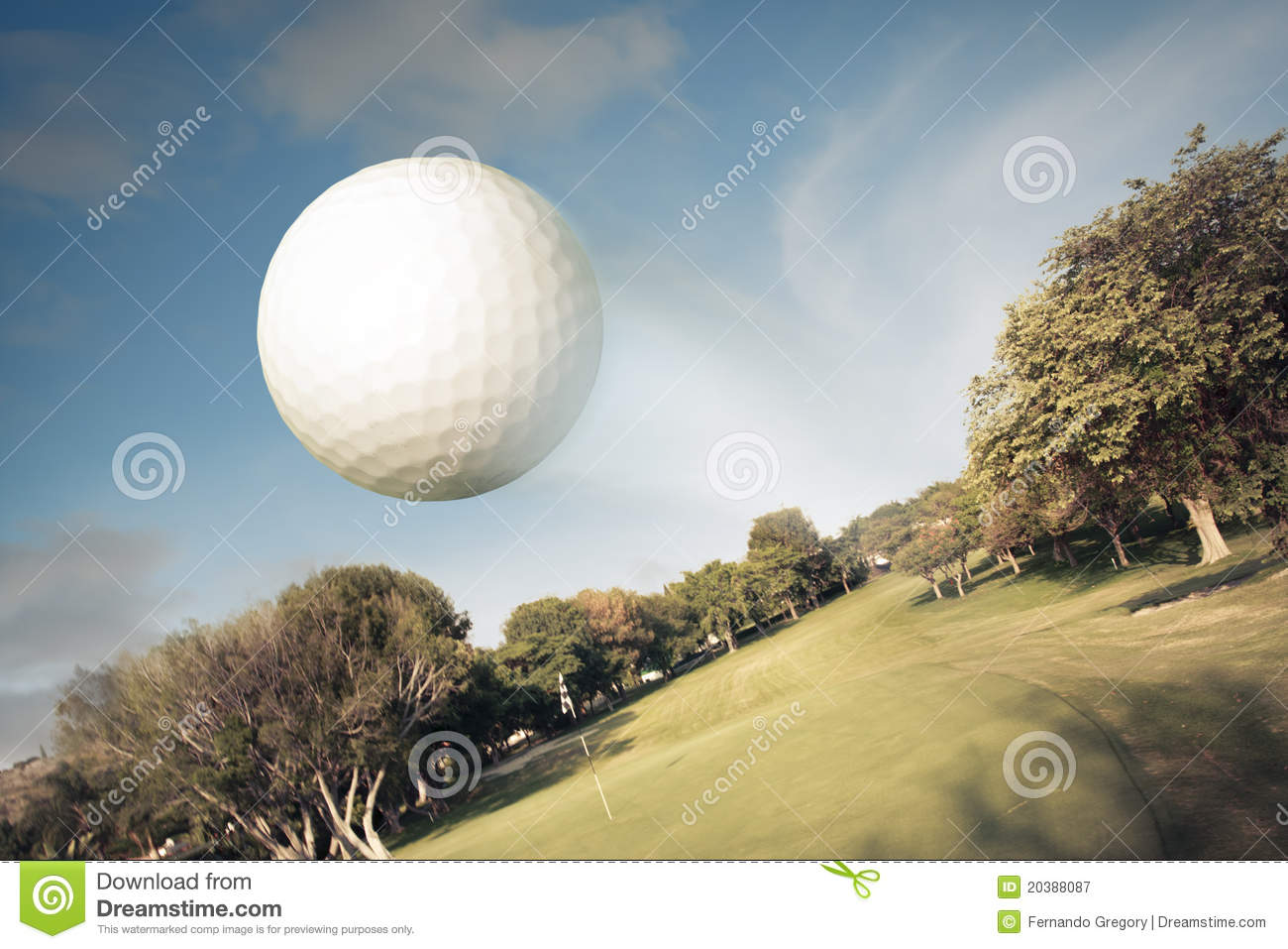 Golf Ball Flying Over The Field Royalty Free Stock