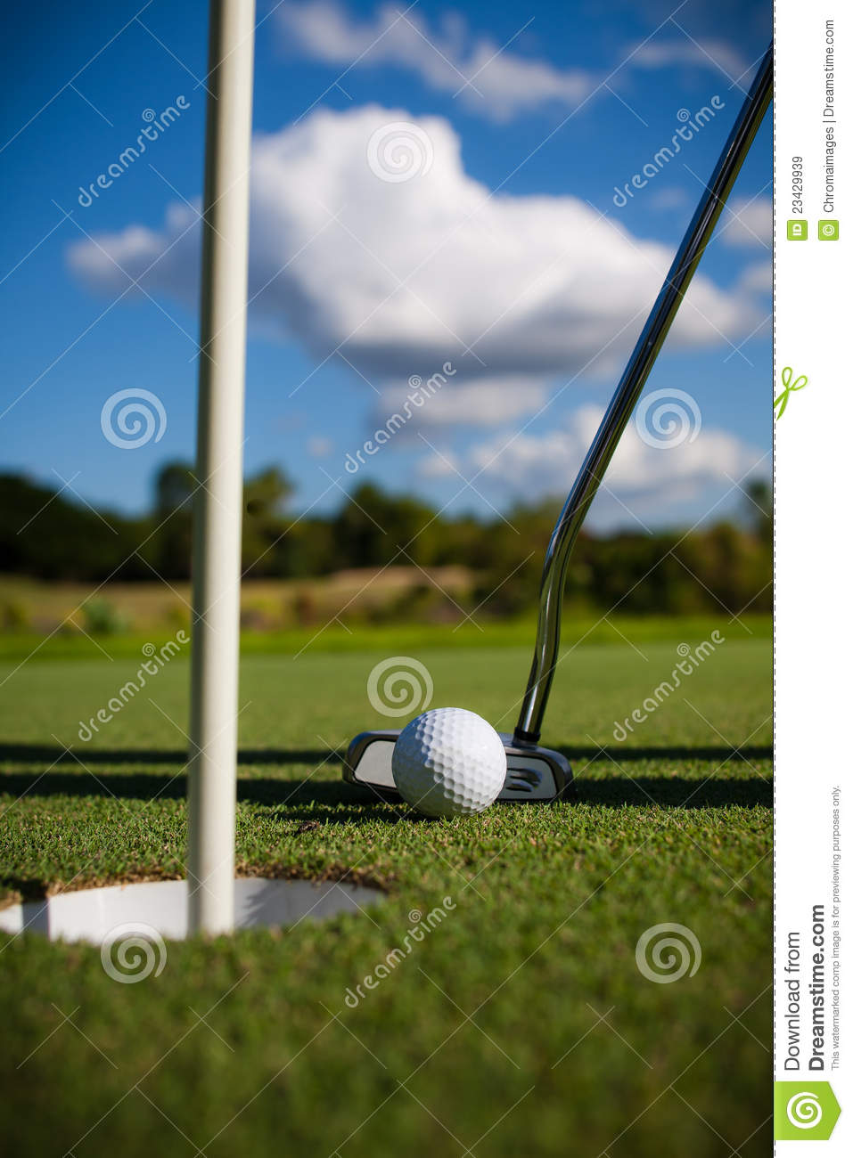 Download Golf Ball on the Green stock image. Image of blue, course - 23429939