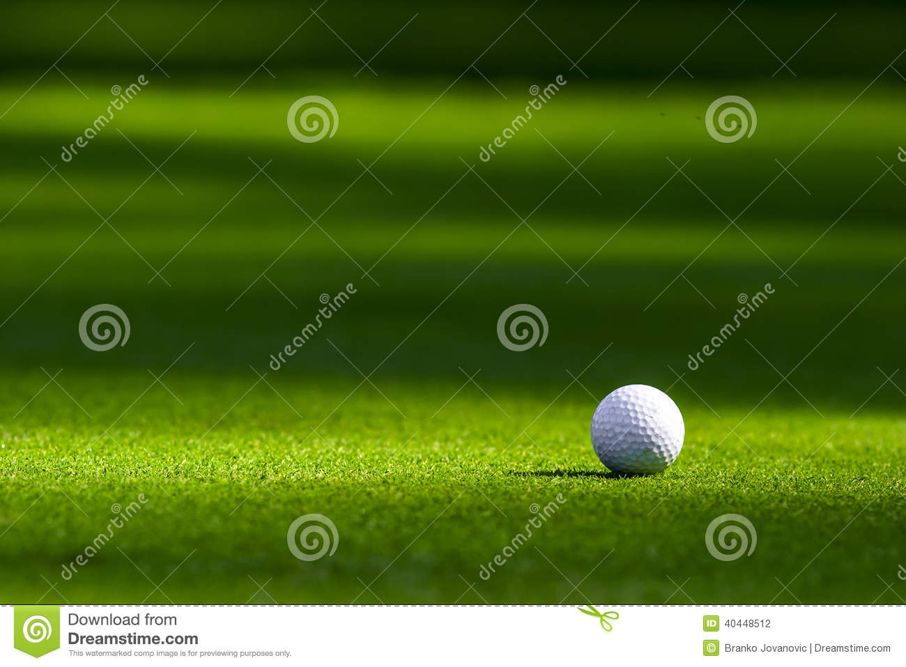 Download Golf ball on the green stock photo. Image of shadows - 40448512