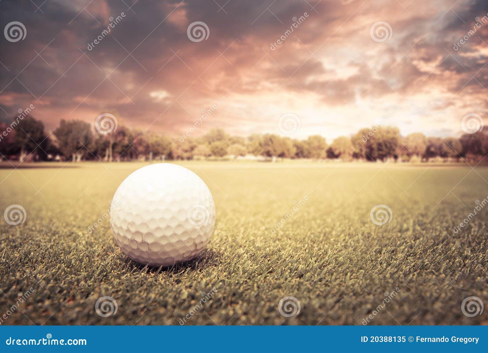Golf ball on a green field