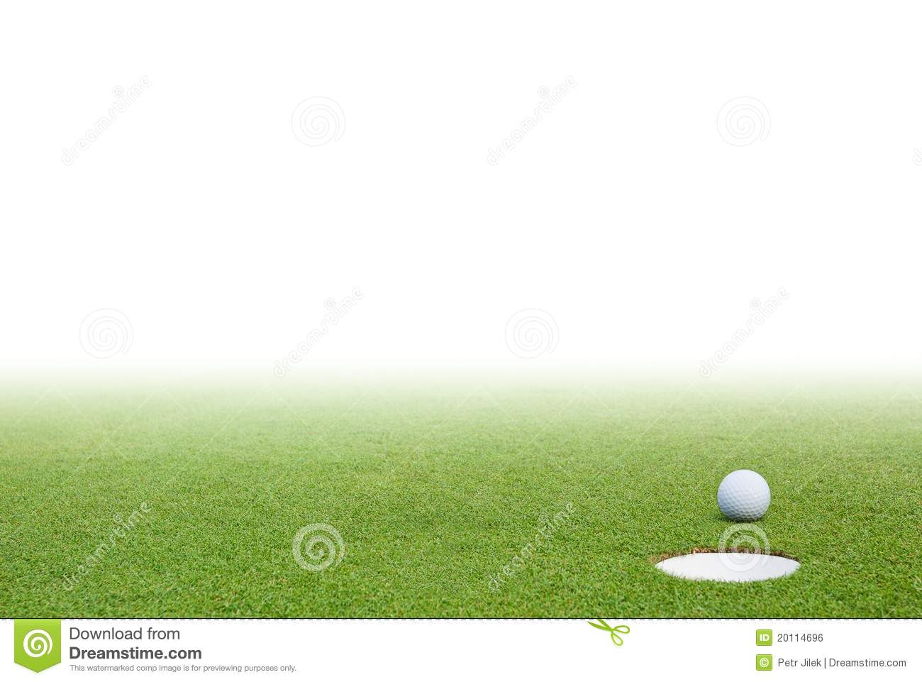 Golf ball and green grass