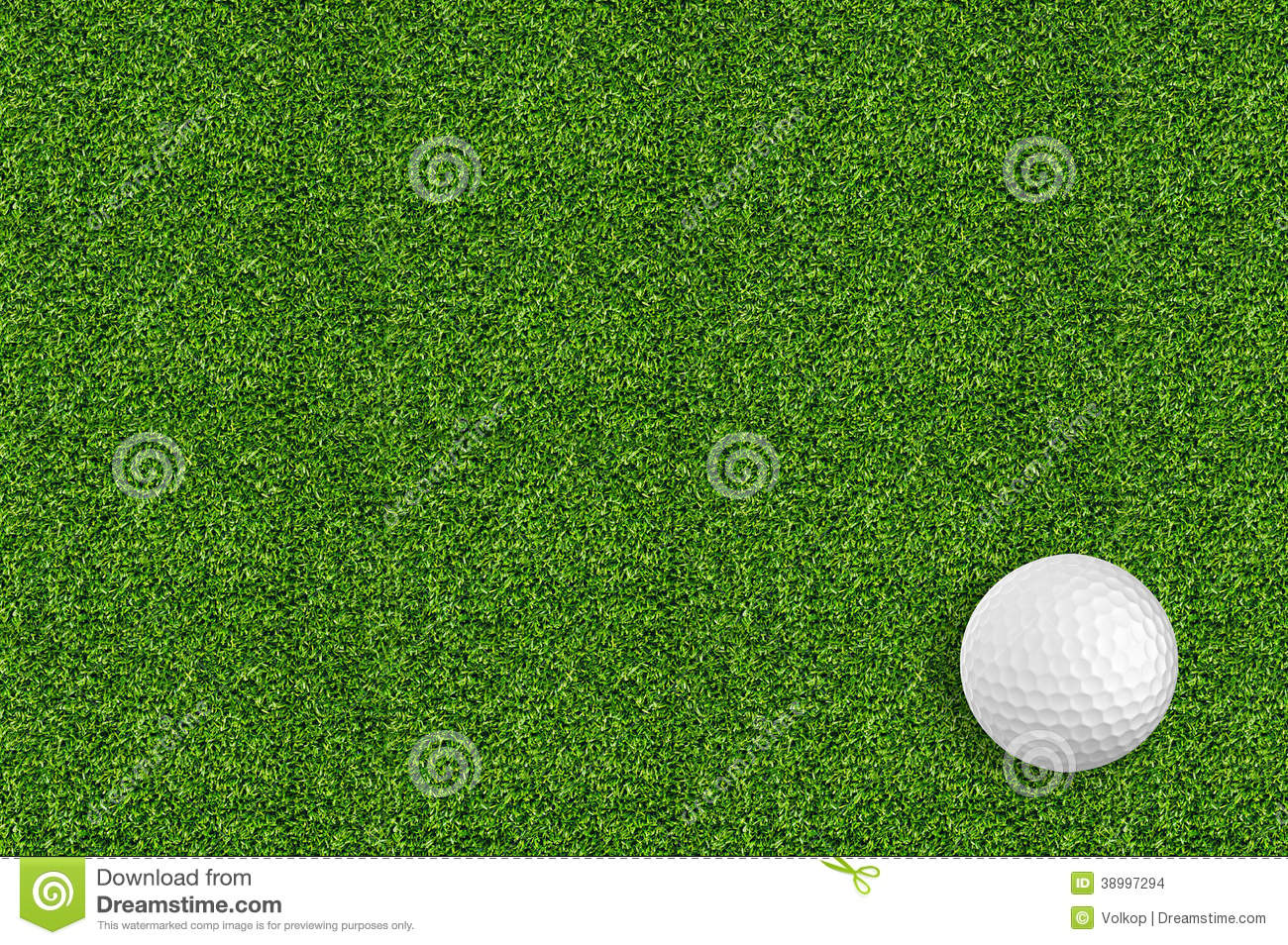 Golf ball on the green grass of the golf