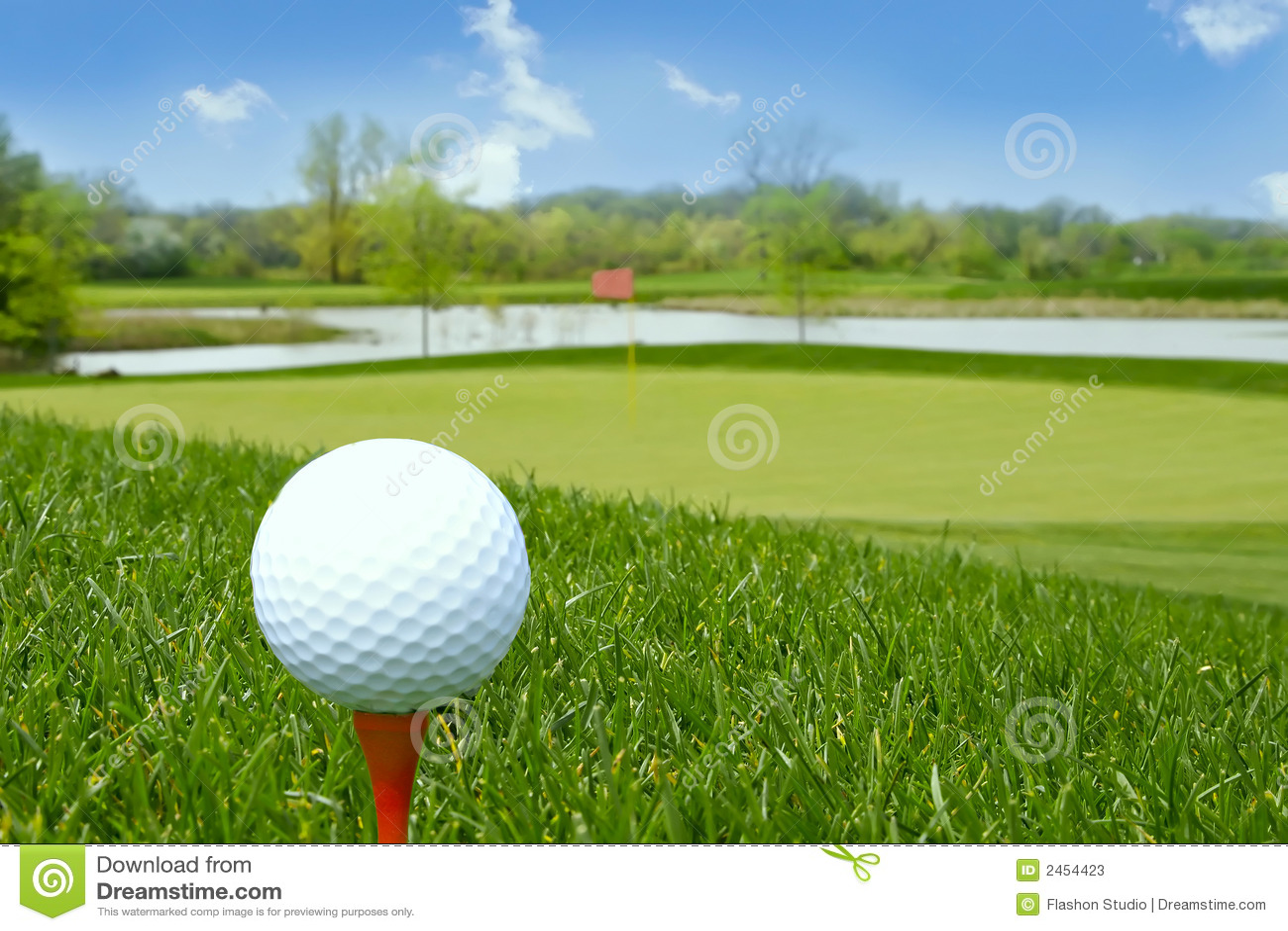 Golf ball on the ground