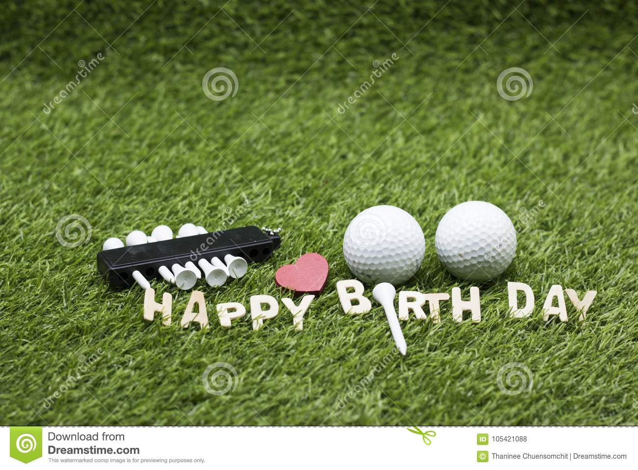 Golf Ball With Happy Birthday Sign On Green Grass Stock ...
