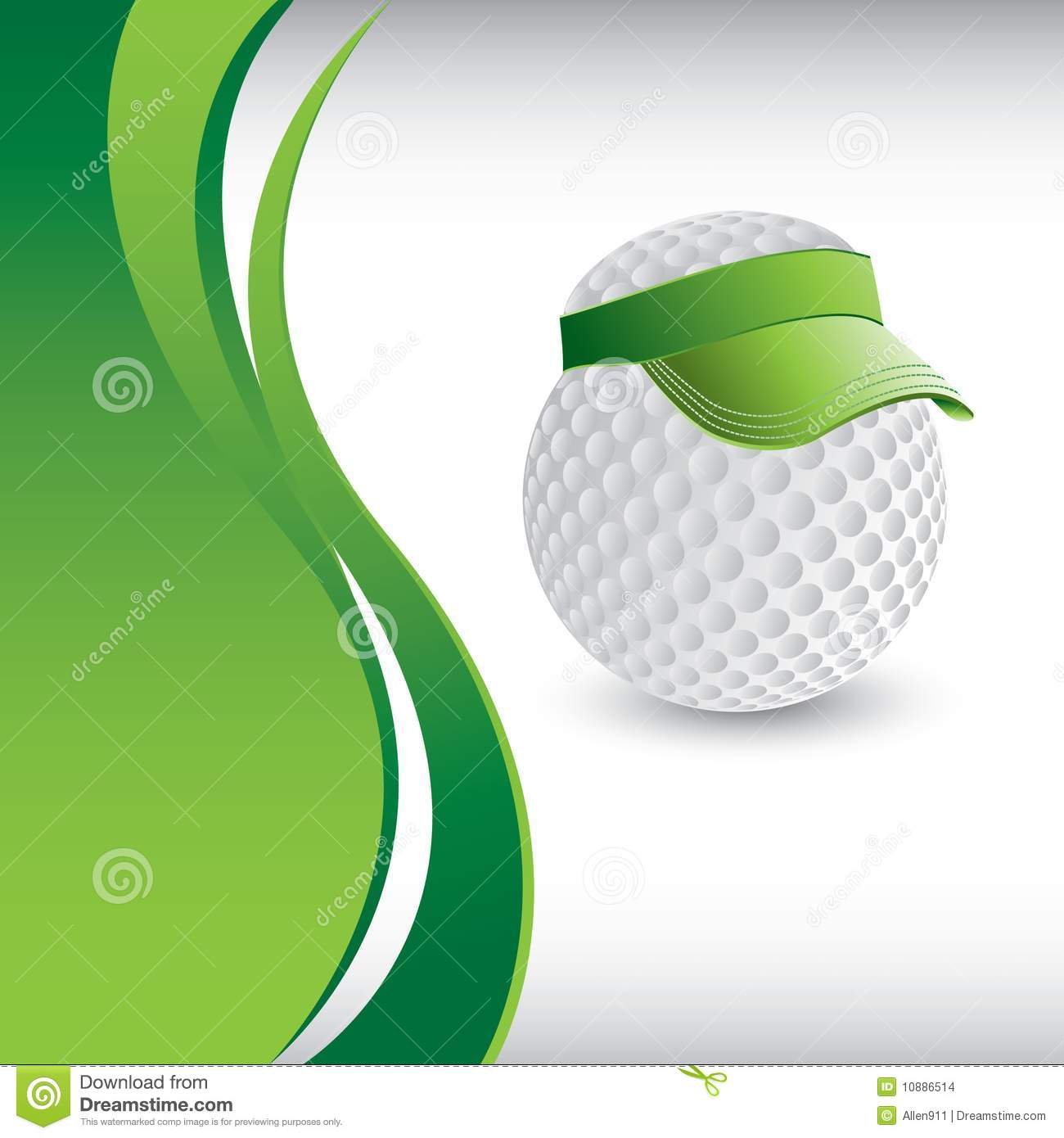 Golf Ball Head With Visor Template Stock Images Image