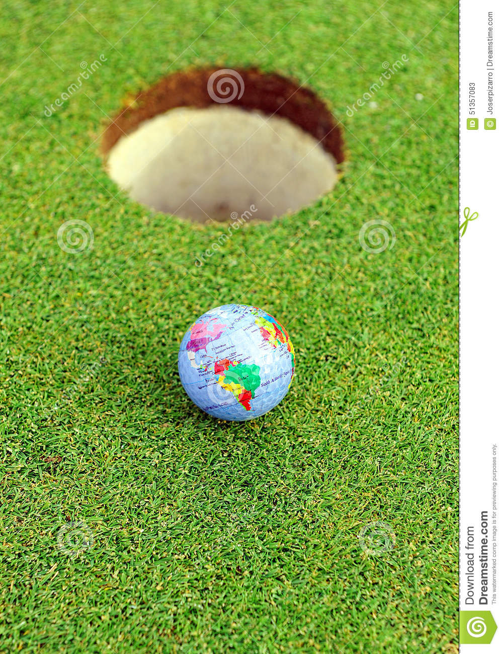 Golf ball in the hole, golf in the world