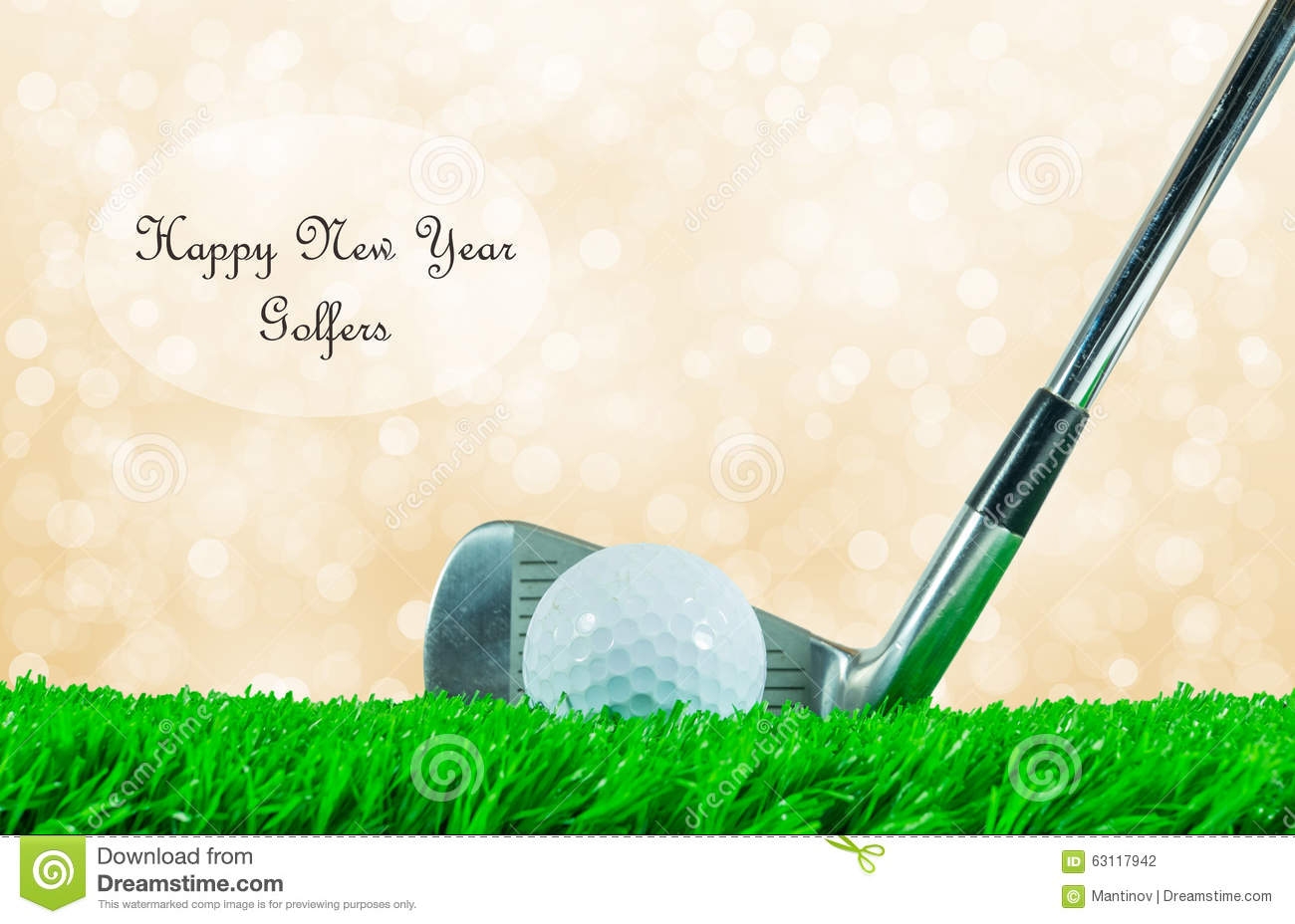 Golf Ball And Iron Club And Quote Stock Photo Image
