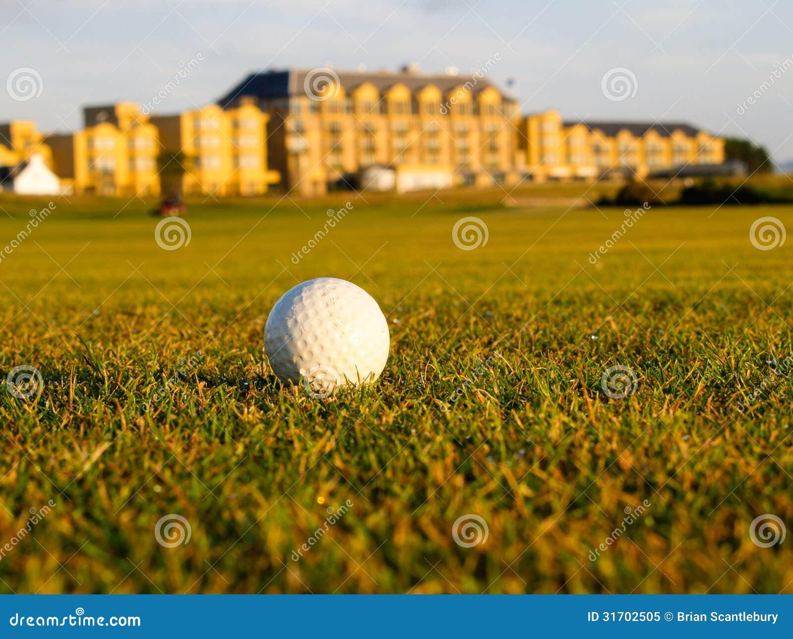 Golf ball lies in fairway.