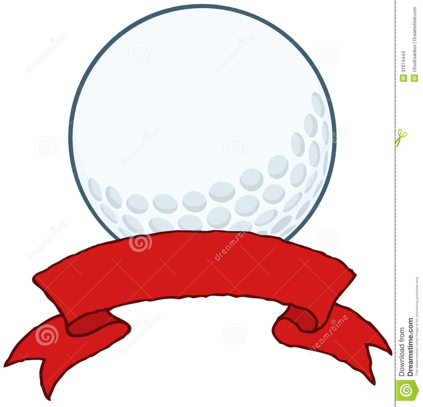 Golf Ball With Red Ribbon Banner Stock Images - Image ... Golf Ball On Tee Clipart
