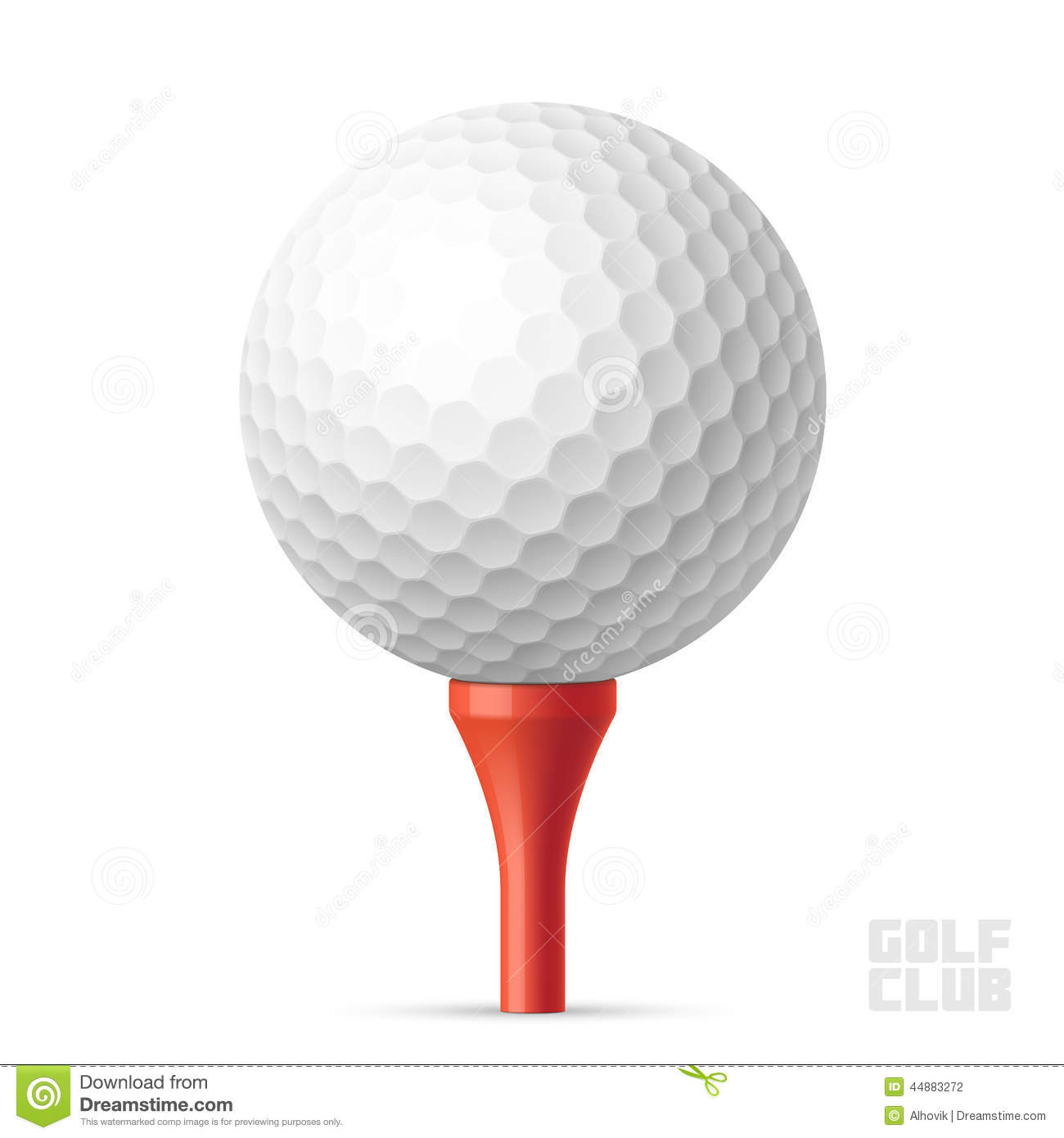 Golf Ball On Red Tee Stock Vector - Image: 44883272