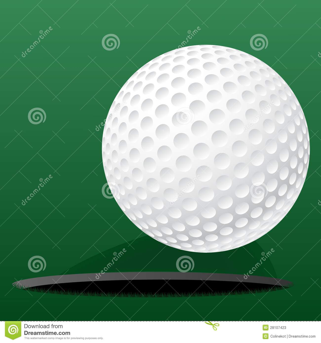 Golf ball rolling into the hole