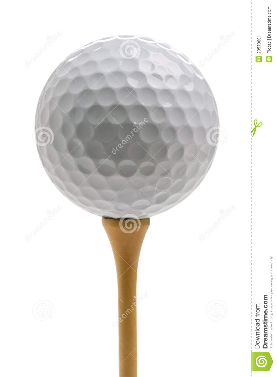 Golf Ball Sitting On Tee Isolated On White Stock Image ... Golf Ball On Tee Clipart