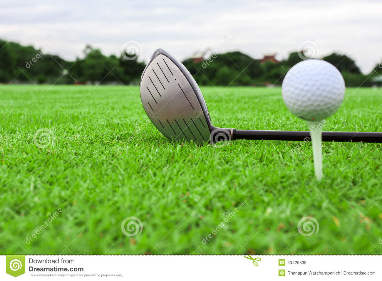 Golf ball on a tee and driver in green grass course