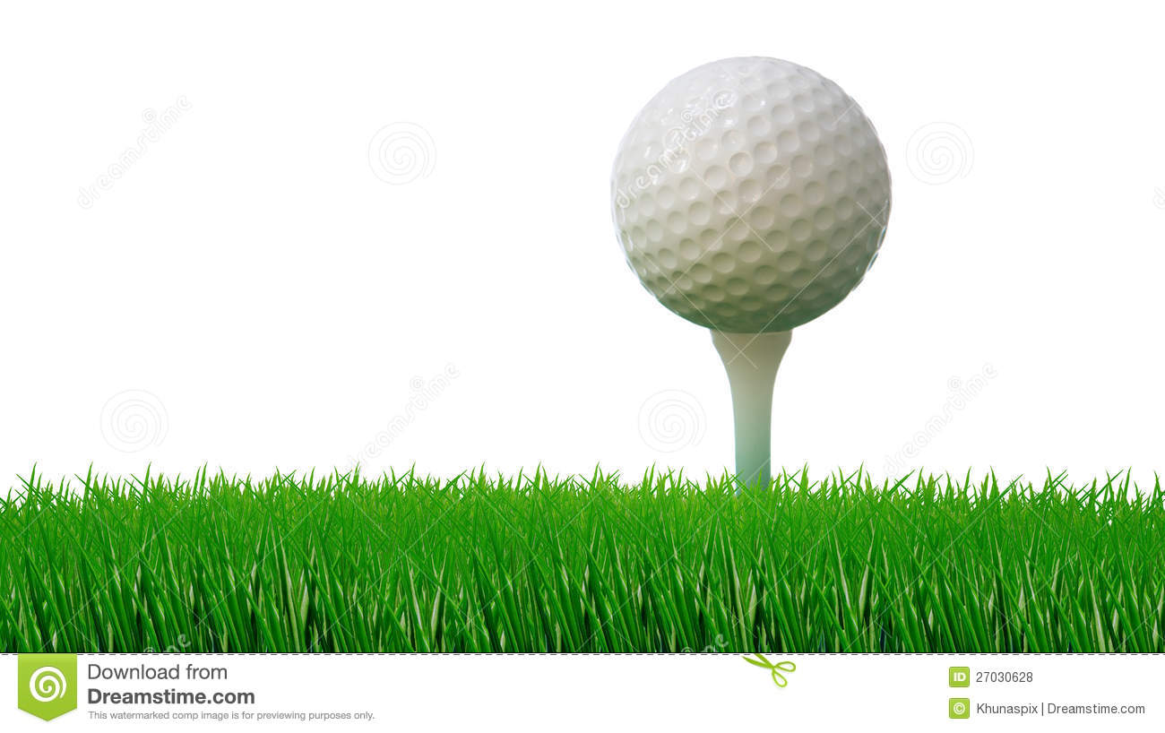 golf ball on tee and green grass as ground stock photo 27030628