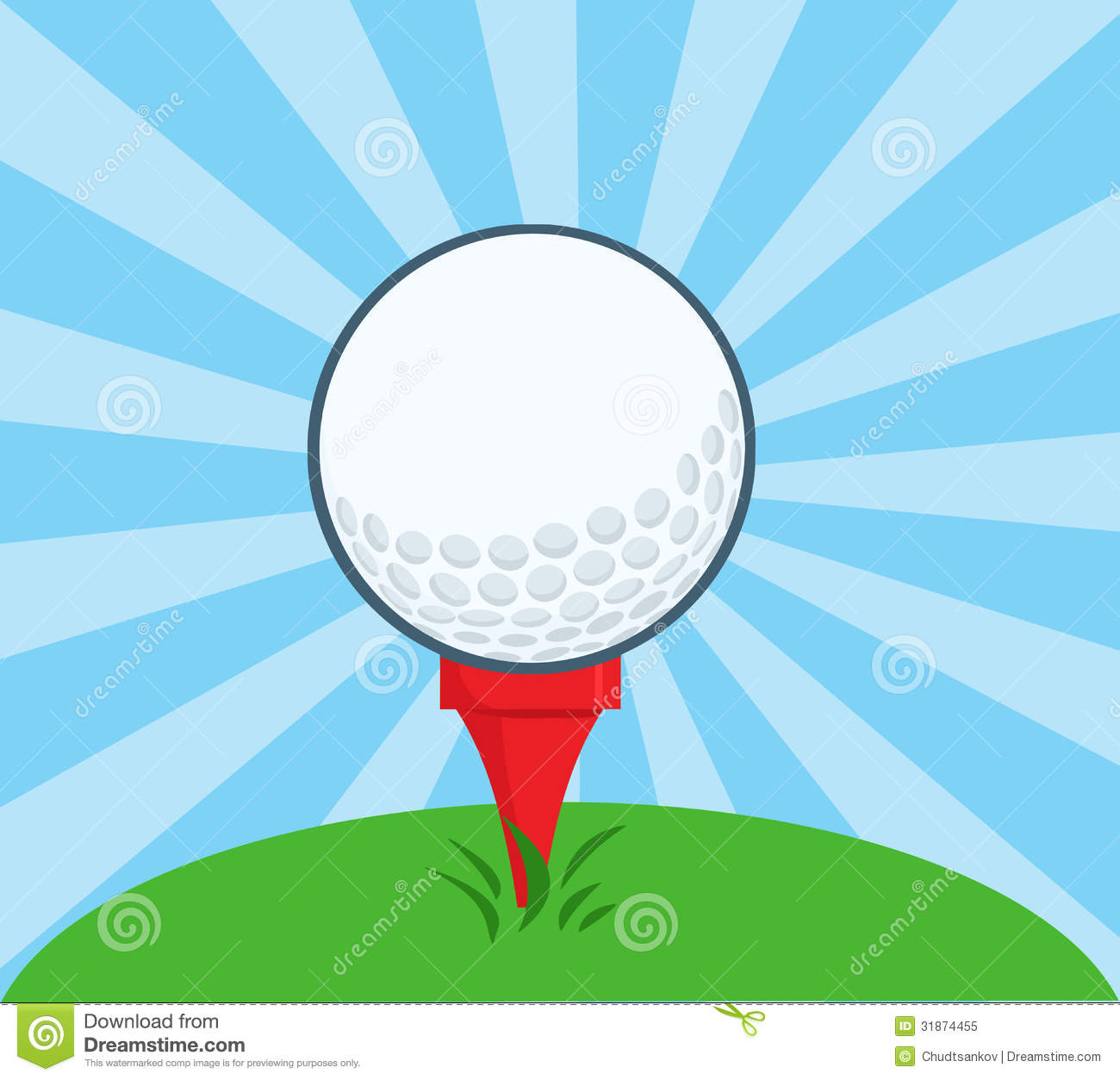 Golf Ball With Tee Ready Stock Vector Illustration Of Color 31874455