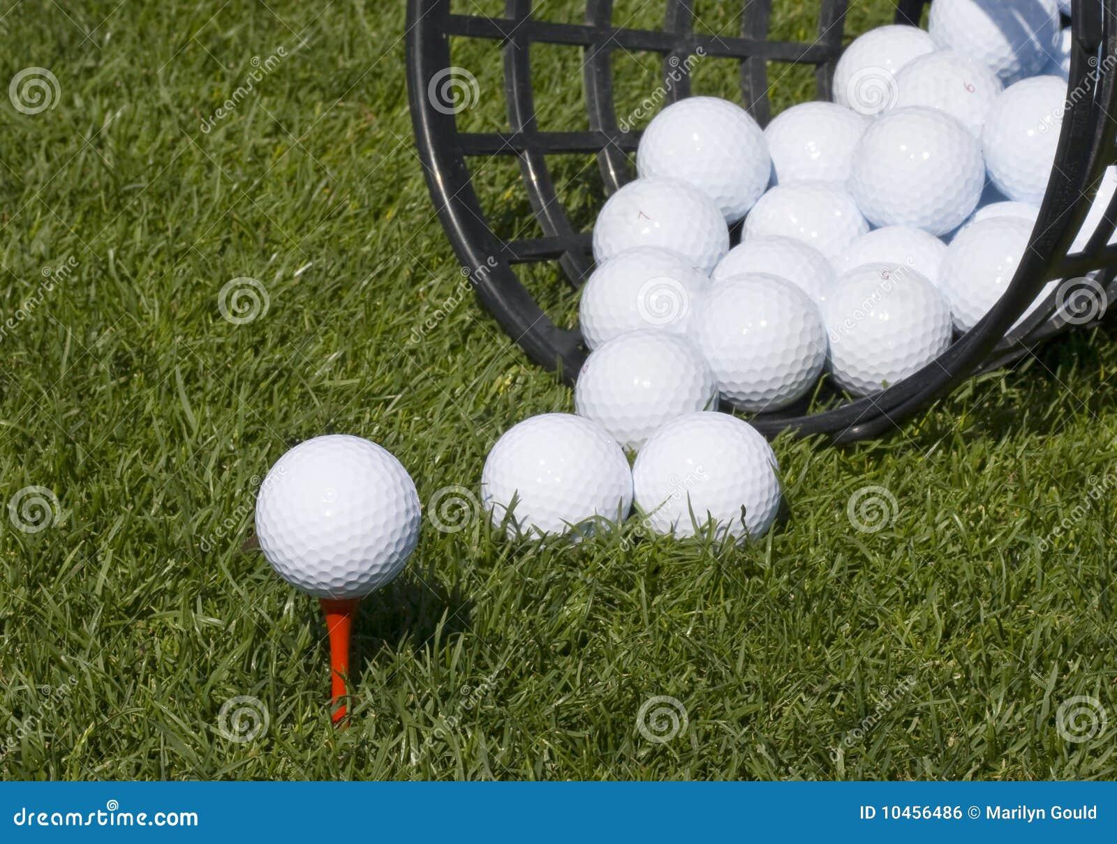 Golf ball teed up