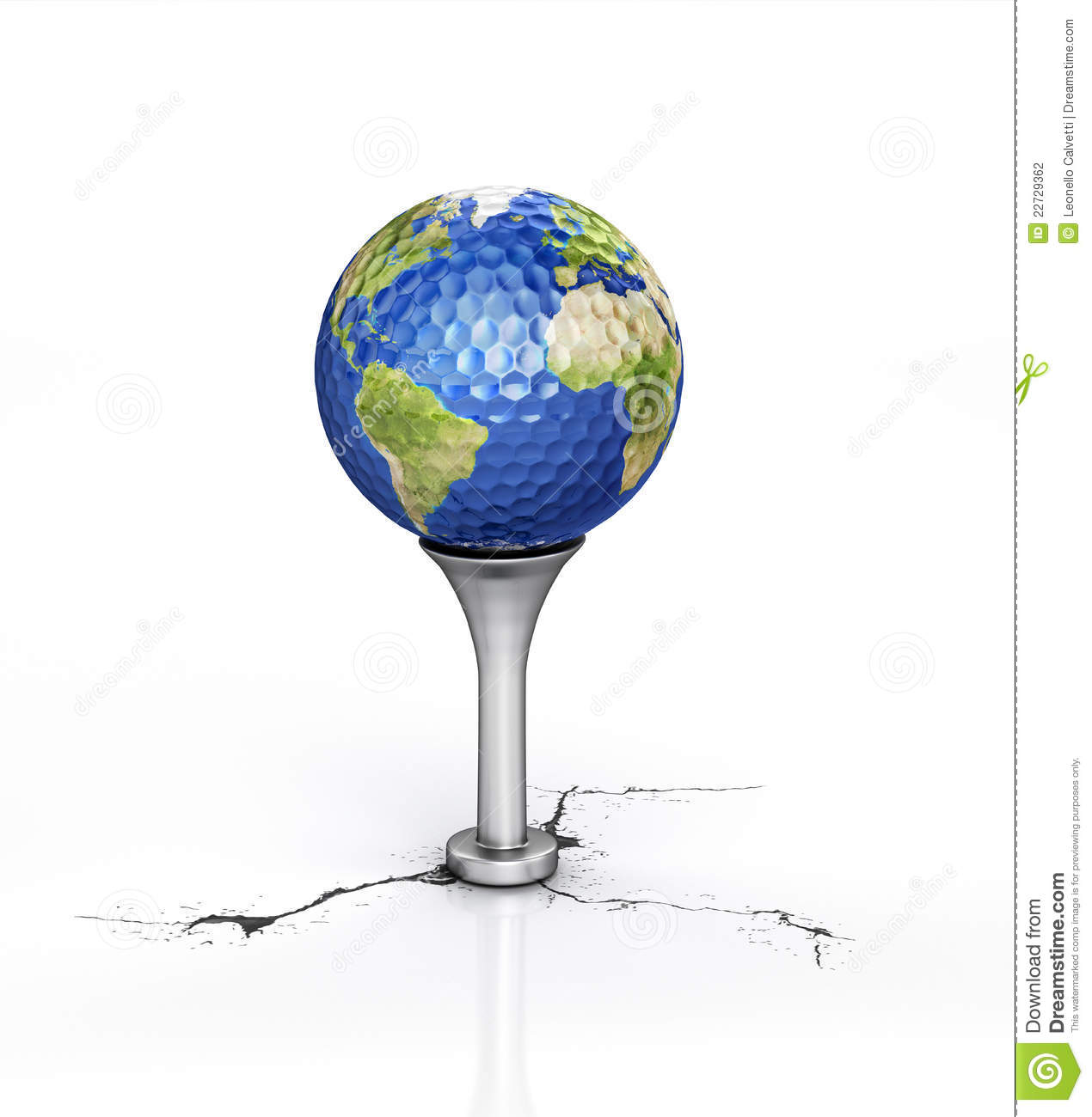golf ball with the texture of earth on tee stock