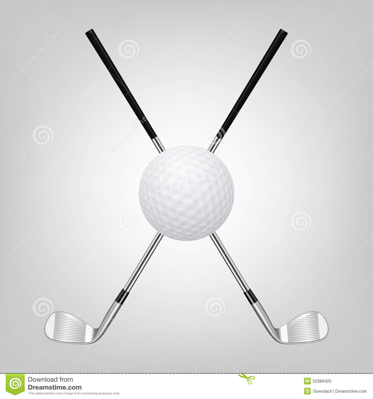 Golf Ball And Two Crossed Golf Clubs Stock Vector - Image ...
