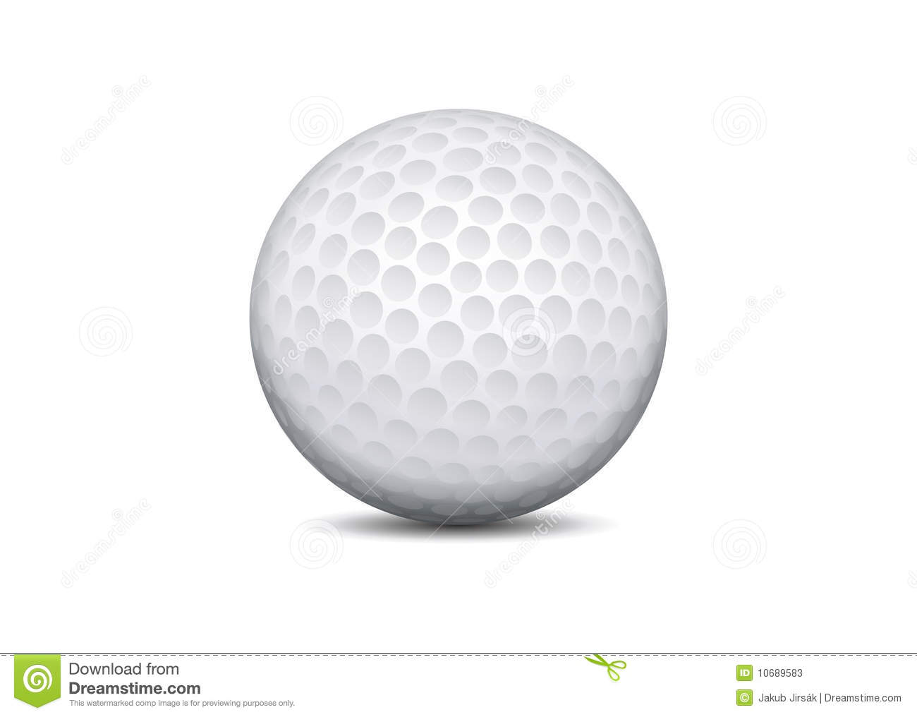 vector golf ball on white background with shadow stock vector