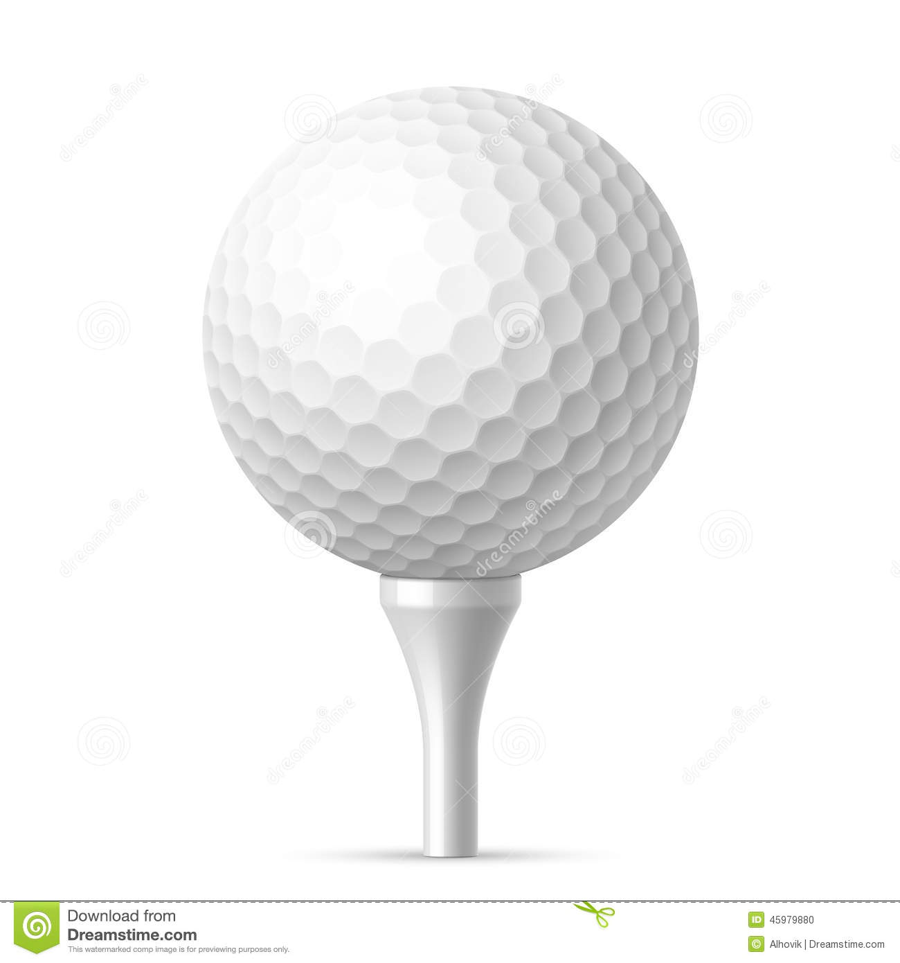 Golf Ball On White Tee Stock Vector - Image: 45979880