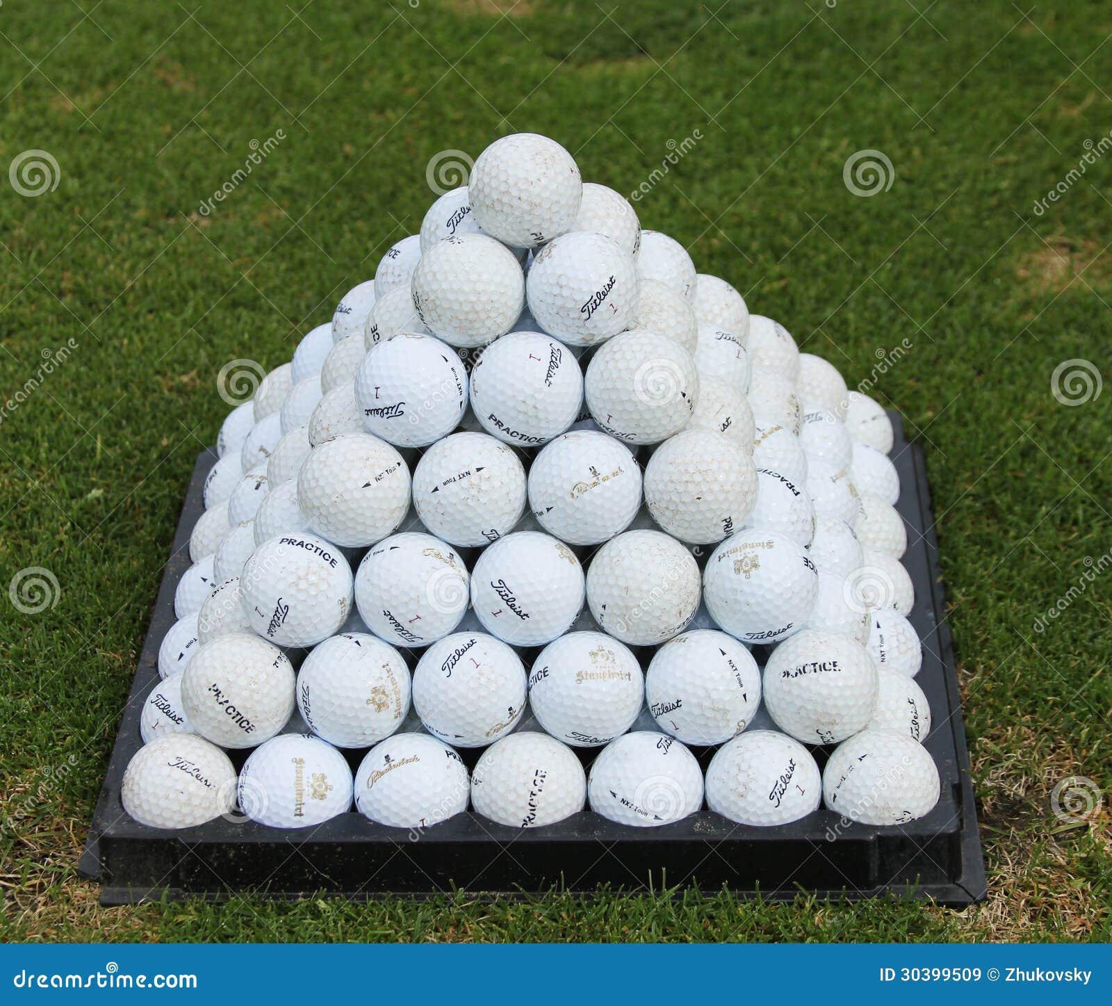 Golf Balls Pyramid On Driving Range Editorial Stock Image