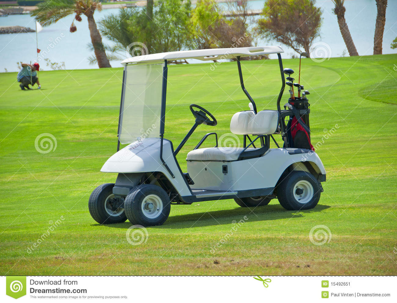 Golf Buggy On A Fairway Stock Image Image 15492651