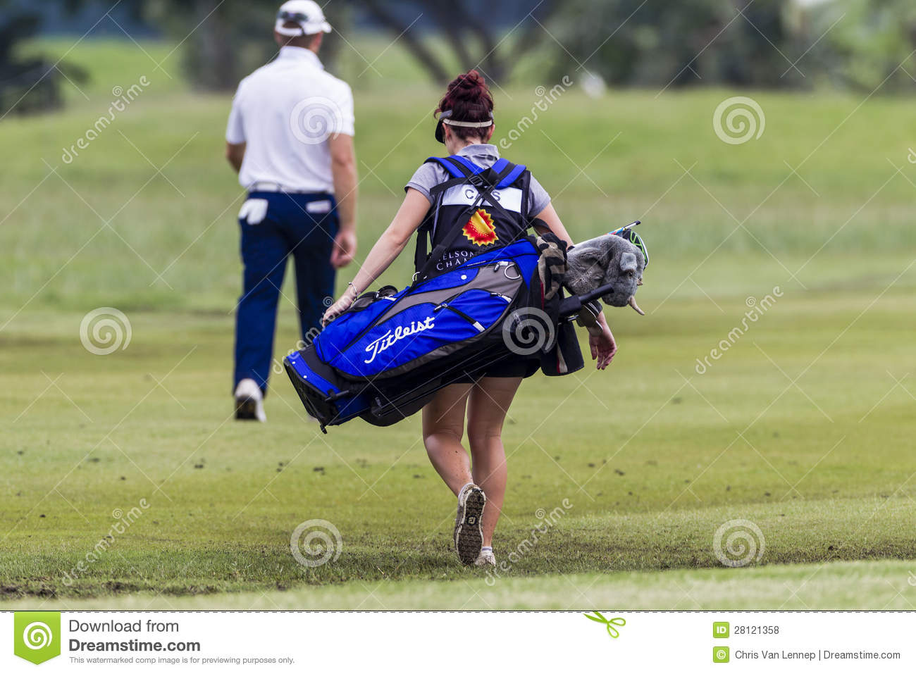 Golf Caddie Woman editorial stock photo  Image of tournament - 28121358