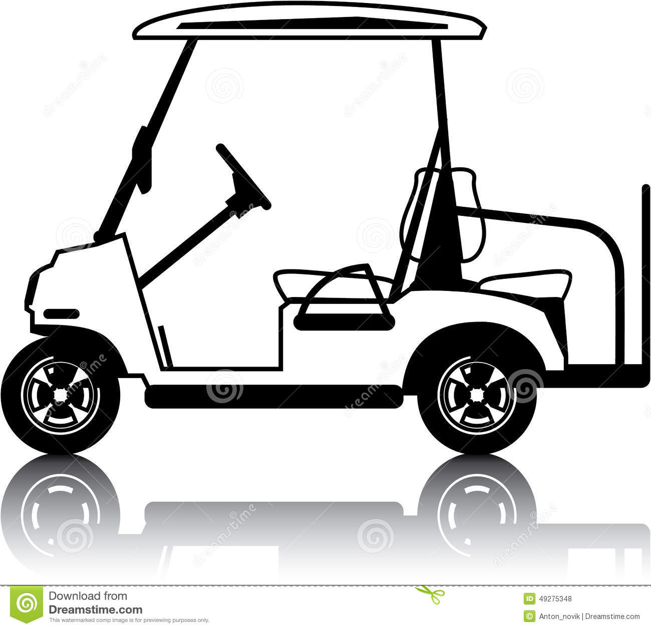 golf cart white stock vector illustration of seat transportation rh dreamstime com lady driving golf cart clip art golf cart clip art free