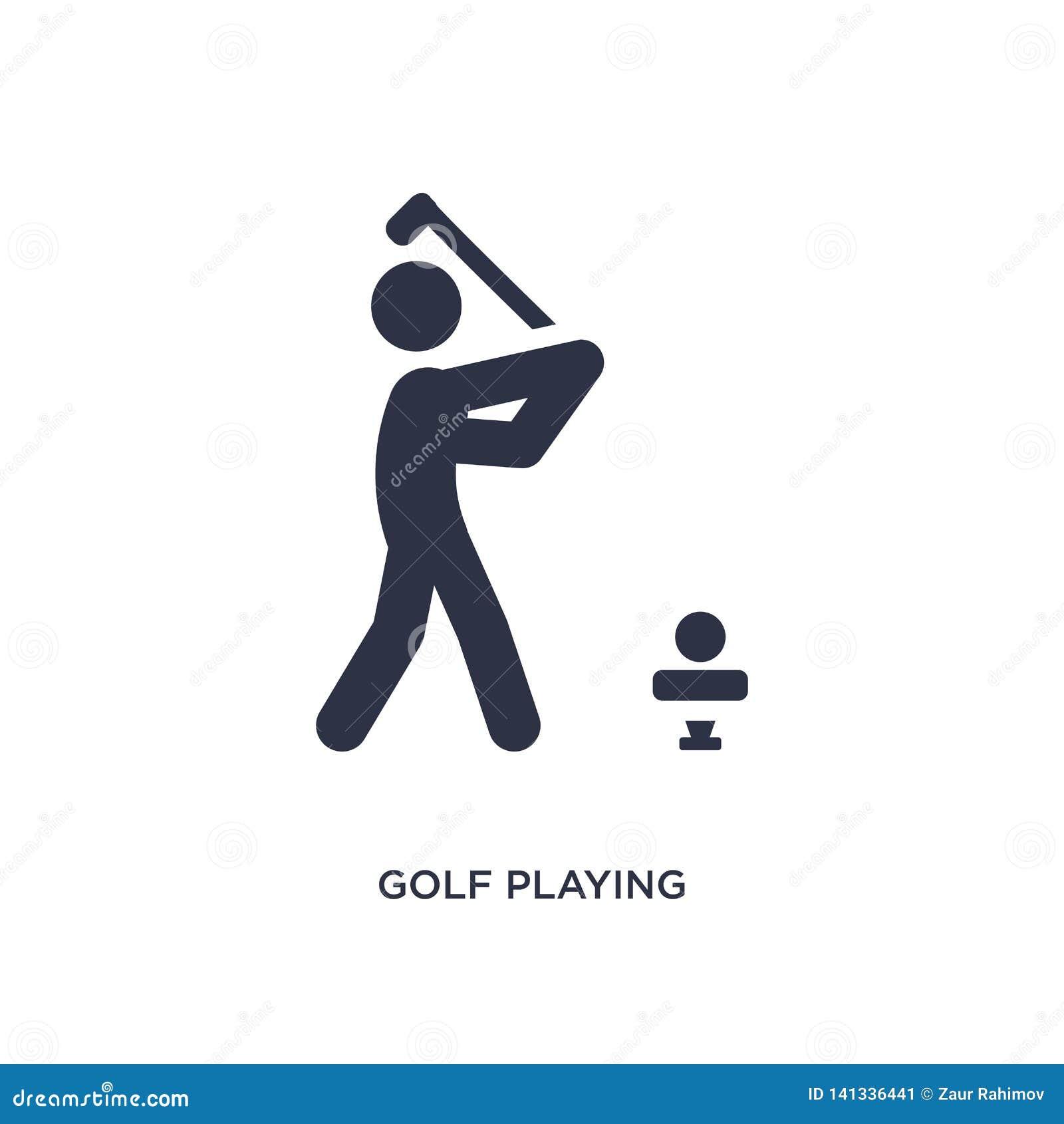 Golf che gioca icona su fondo bianco Illustrazione semplice dell elemento da attività e dal concetto di hobby