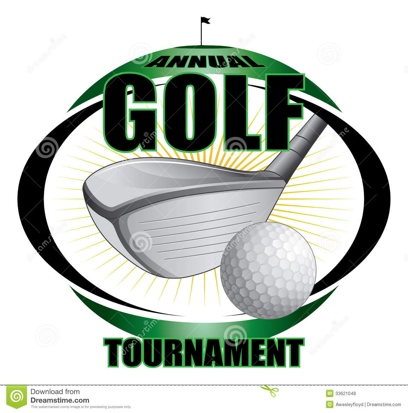 Illustration of a golf tournament design. Contains golf clubs and golf ...