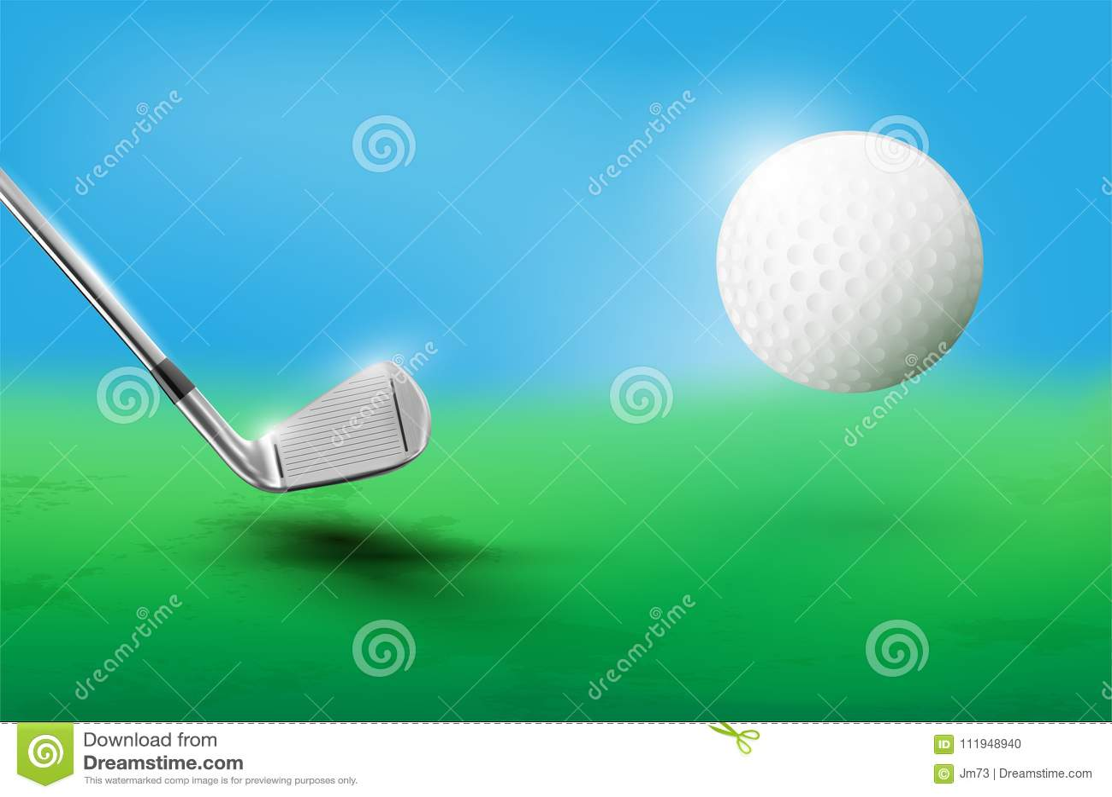 Golf club and flying golf ball