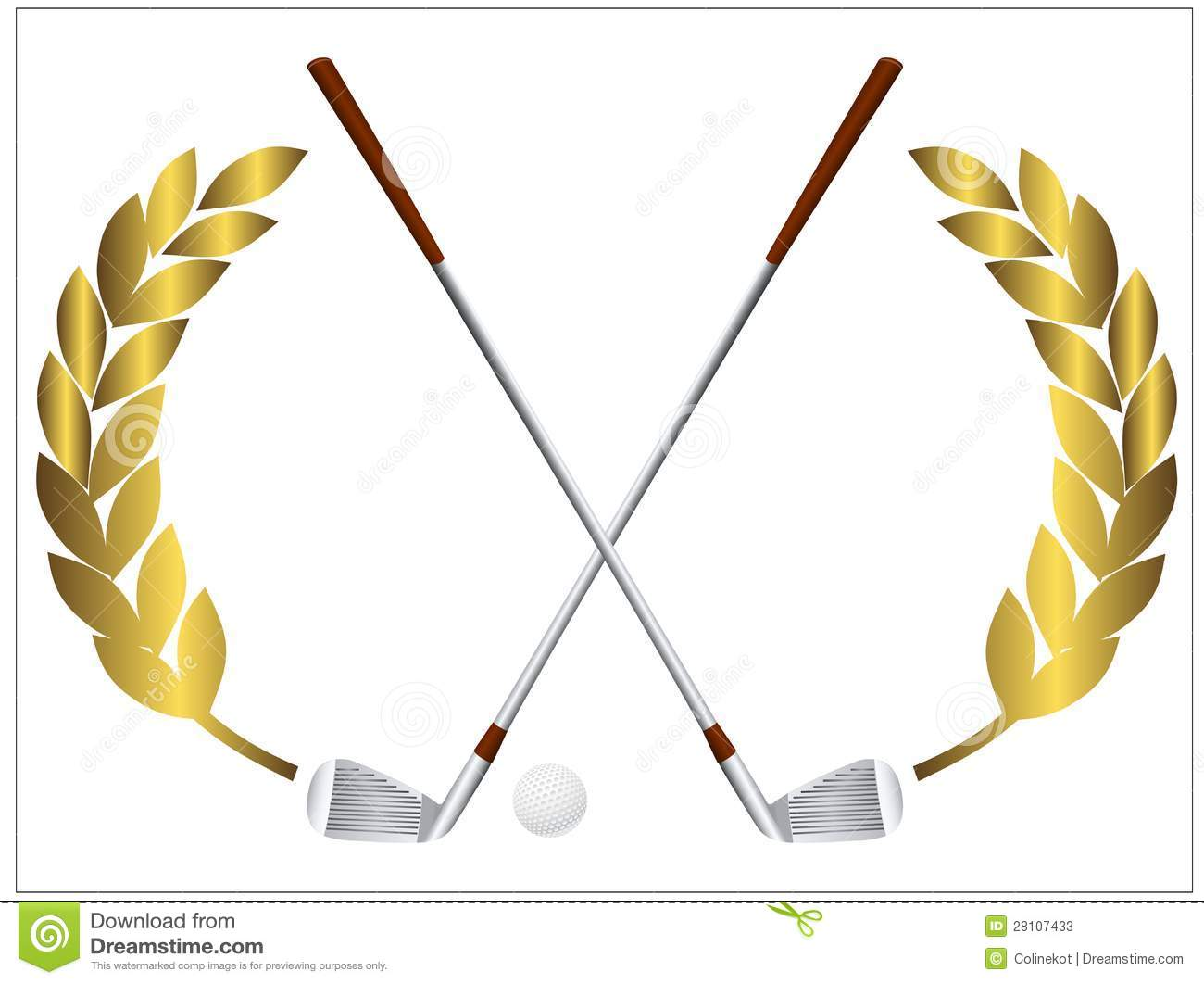 Vector illustration of a golf ball and crossing golf clubs.