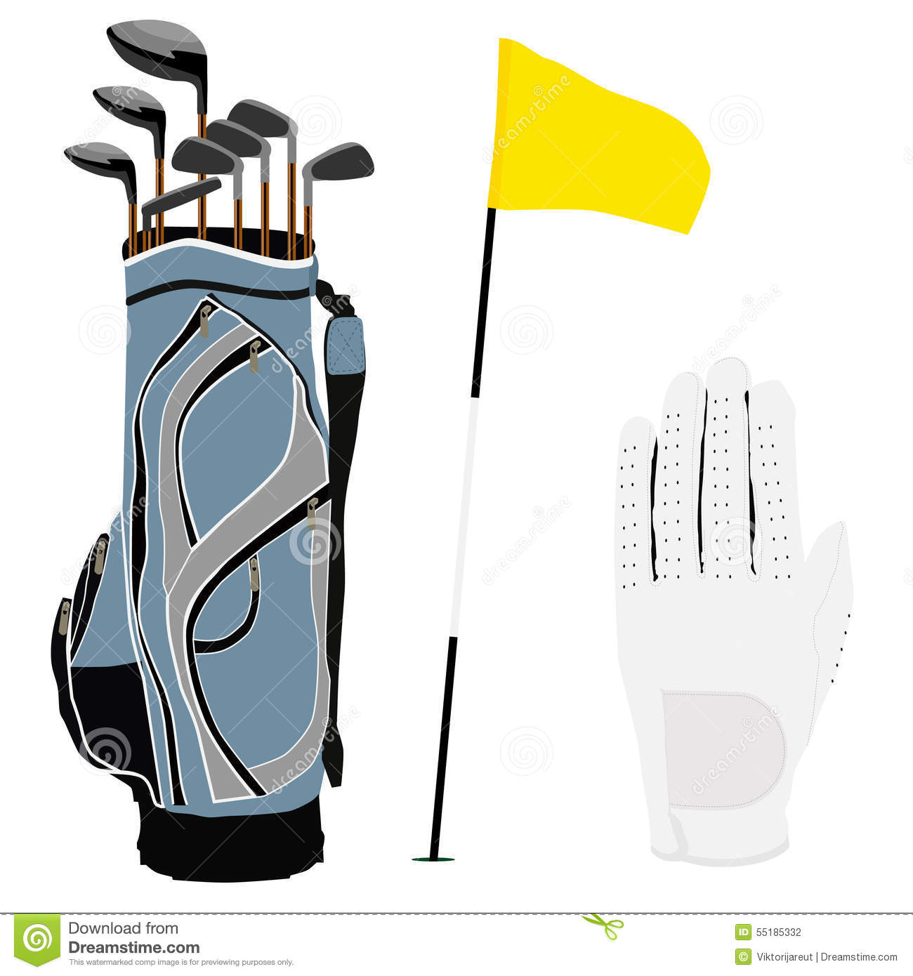Golf Clubs Bag, Flag And White Glove Stock Vector - Image ...