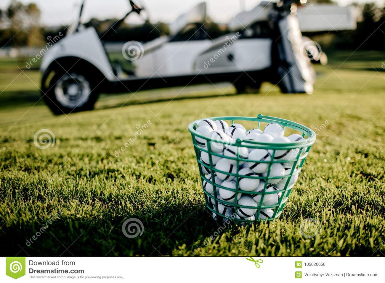 Golf Clubs Drivers Over Green Field Background. Summer
