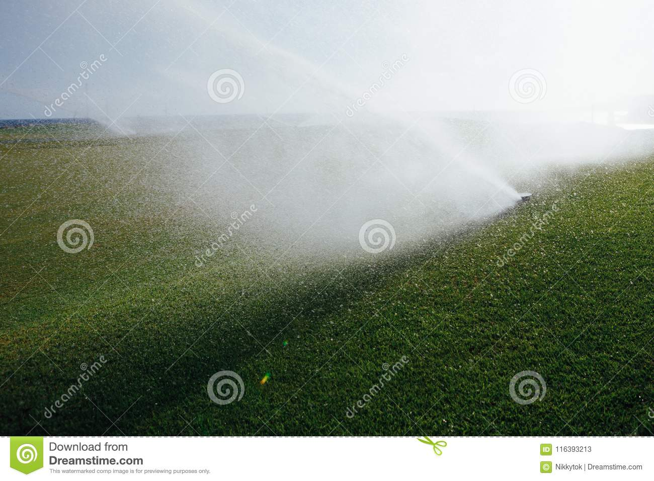 Golf Course Automatic Lawn Sprinkler Stock Image Image Of