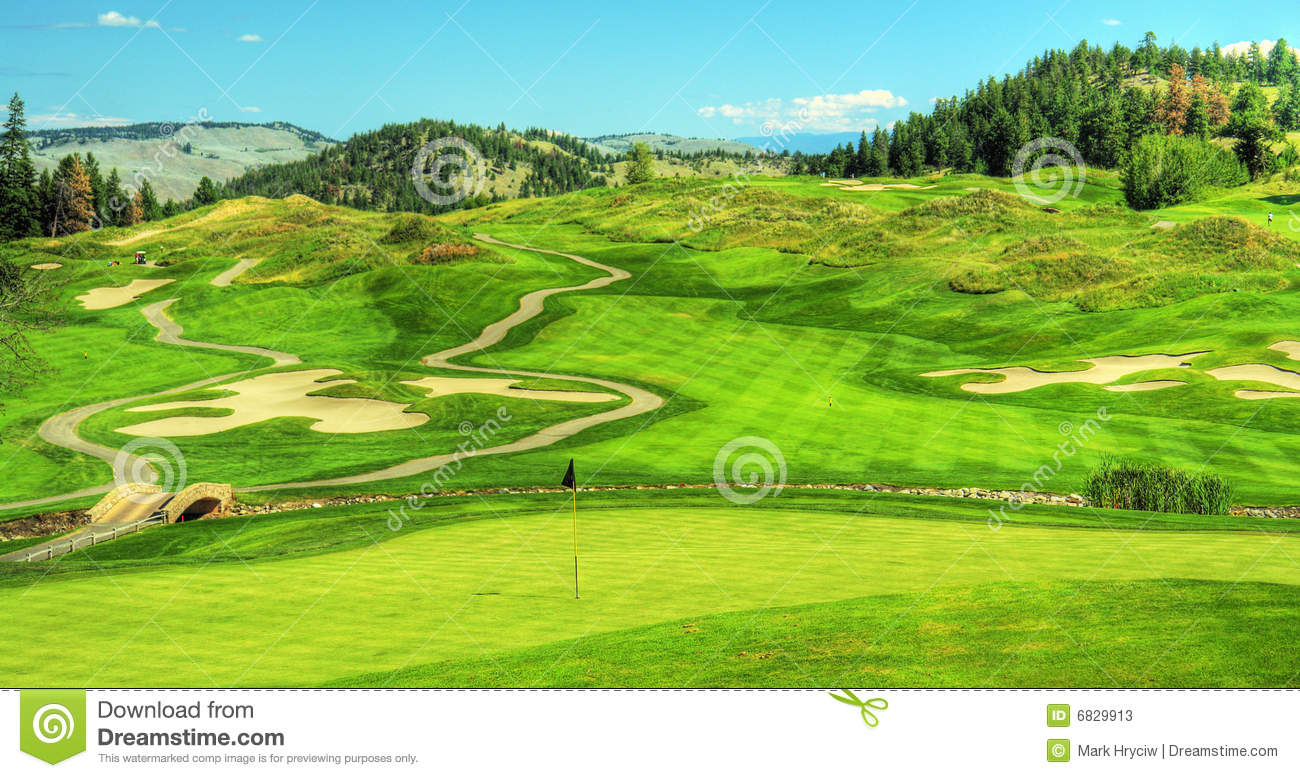 Golf Course Golfing Panorama Stock Image - Image of scenic ...