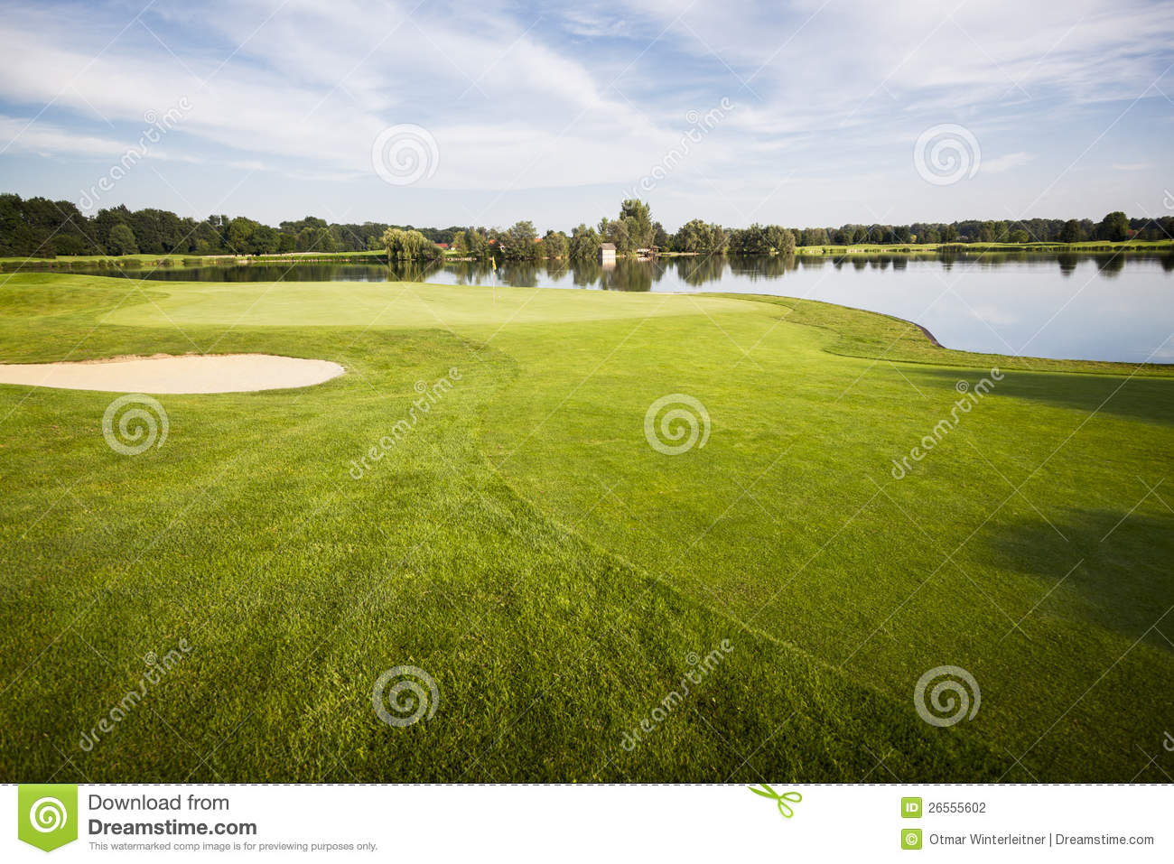 Golf course with green.