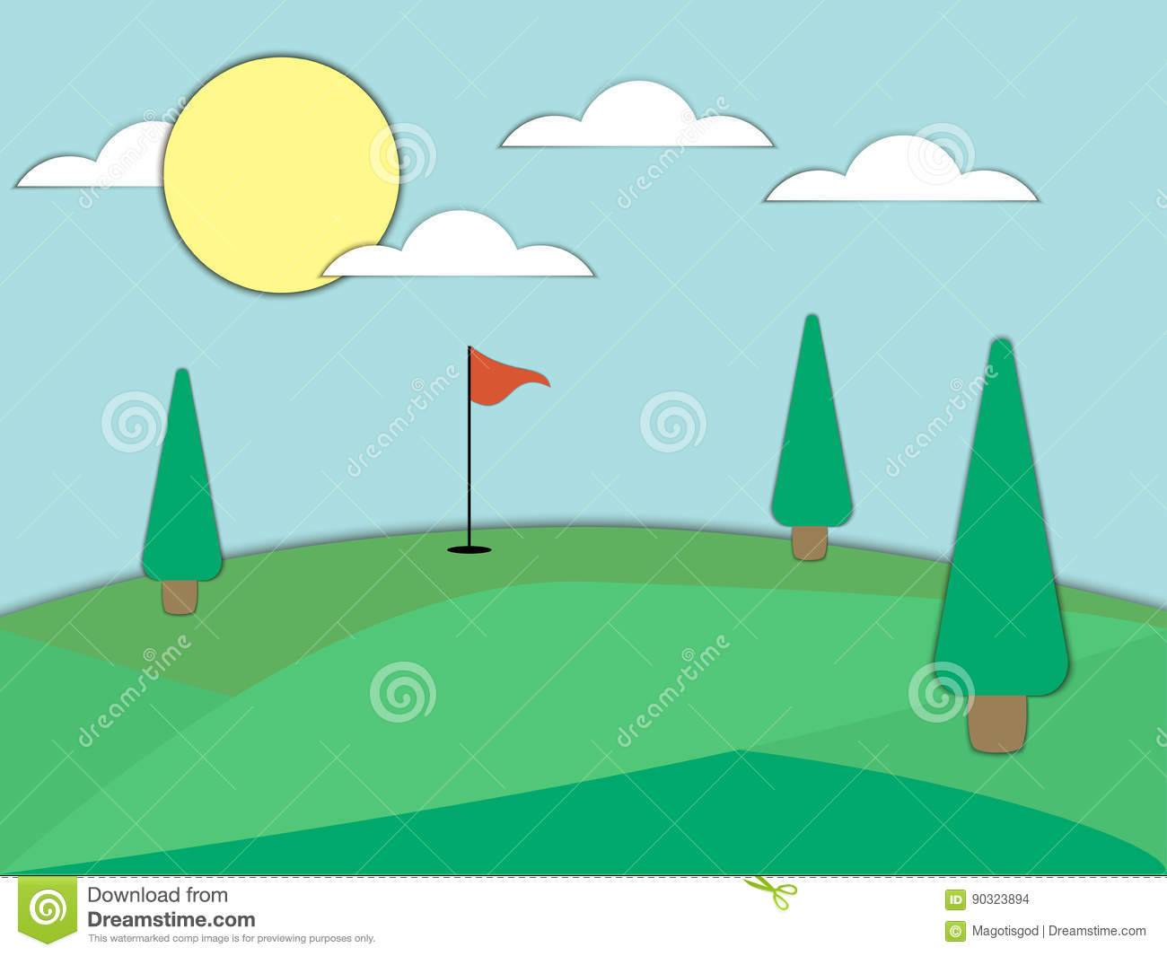 Golf Course With A Hole And A Red Flag. Paper Art. Landscape ... on golf backswing diagram, golf rules, golf water hazard, pool diagram, black hole diagram, tennis court diagram, croquet diagram, palm tree diagram, 5 wire trailer wiring diagram, golf cart diagram, horse diagram, par 3 golf course diagram, football hole diagram, golf green diagram, golf green design, beach diagram,