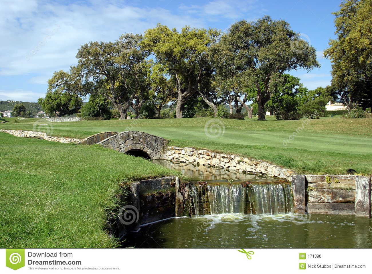 Golf course, river and bridge at San Roque in Spain