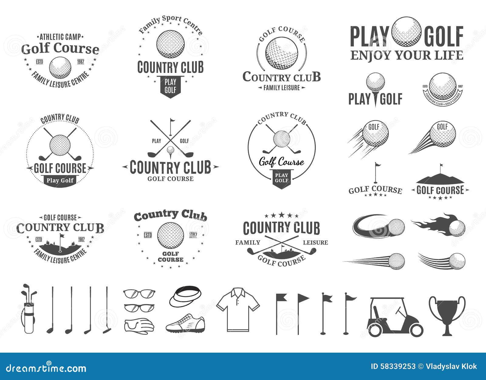 Golf el logotipo del club de campo, las etiquetas, los iconos y los elementos del diseño