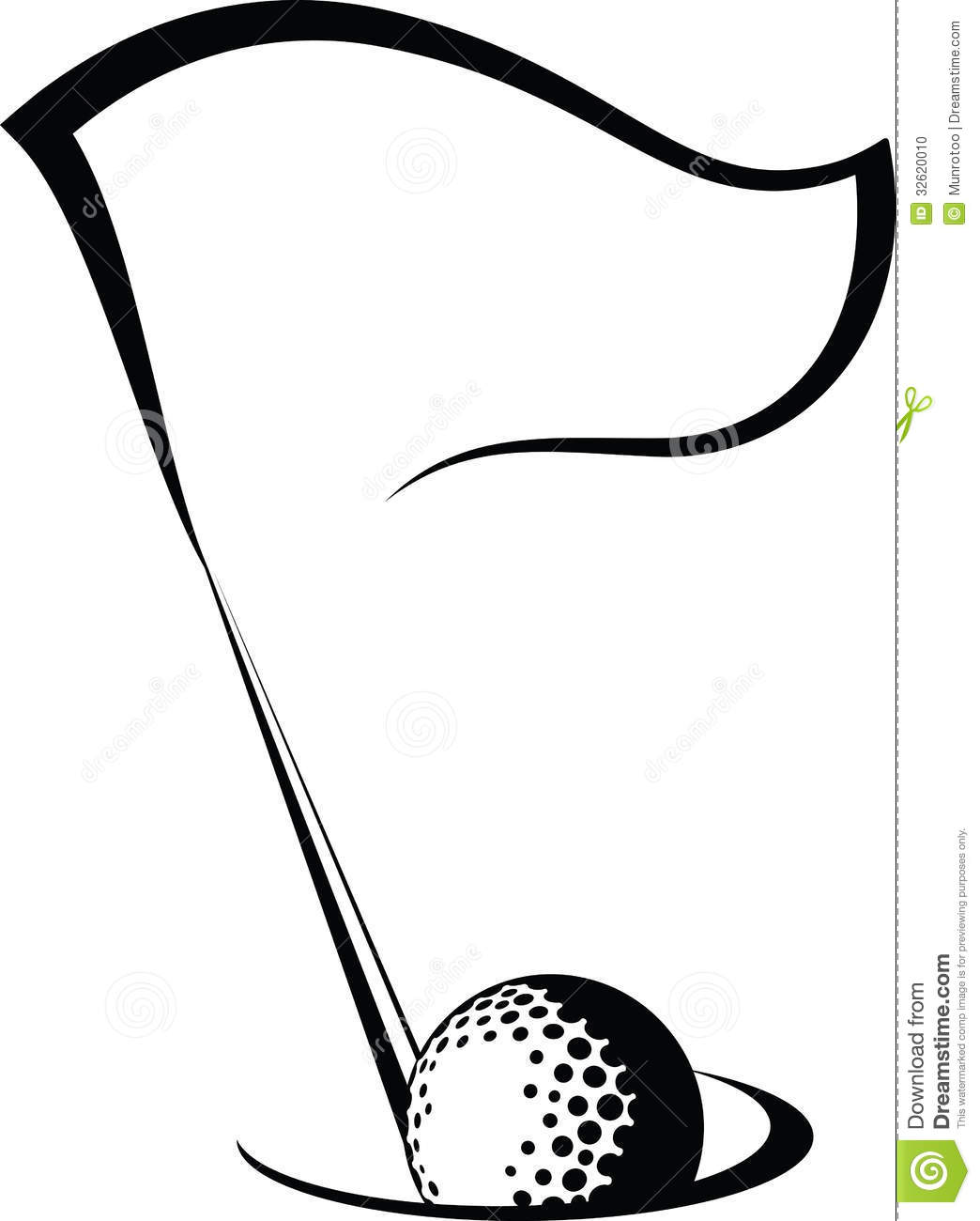 ... illustration of a golf ball going in a golf hole with a golf flag